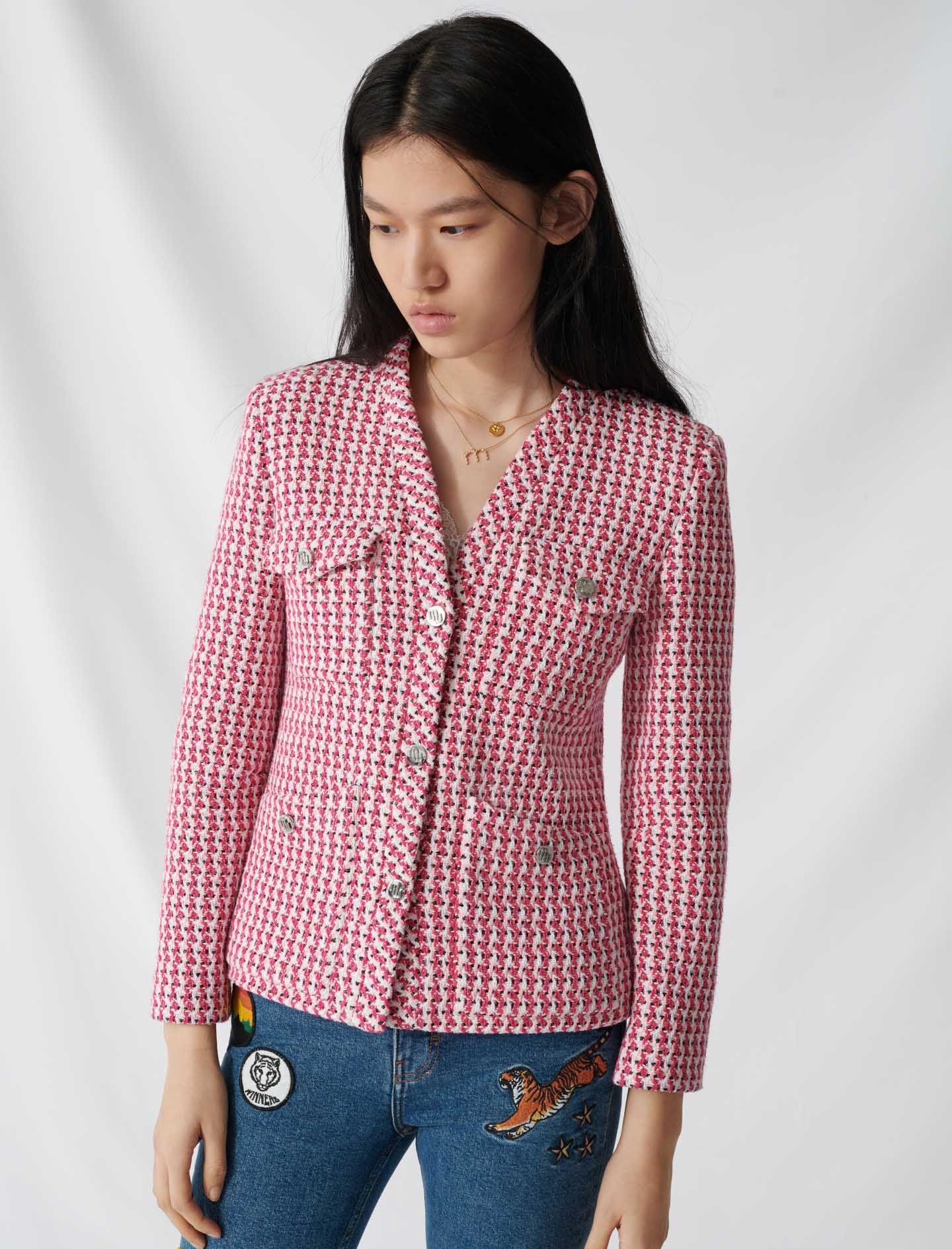Tweed-style fitted jacket - Pink