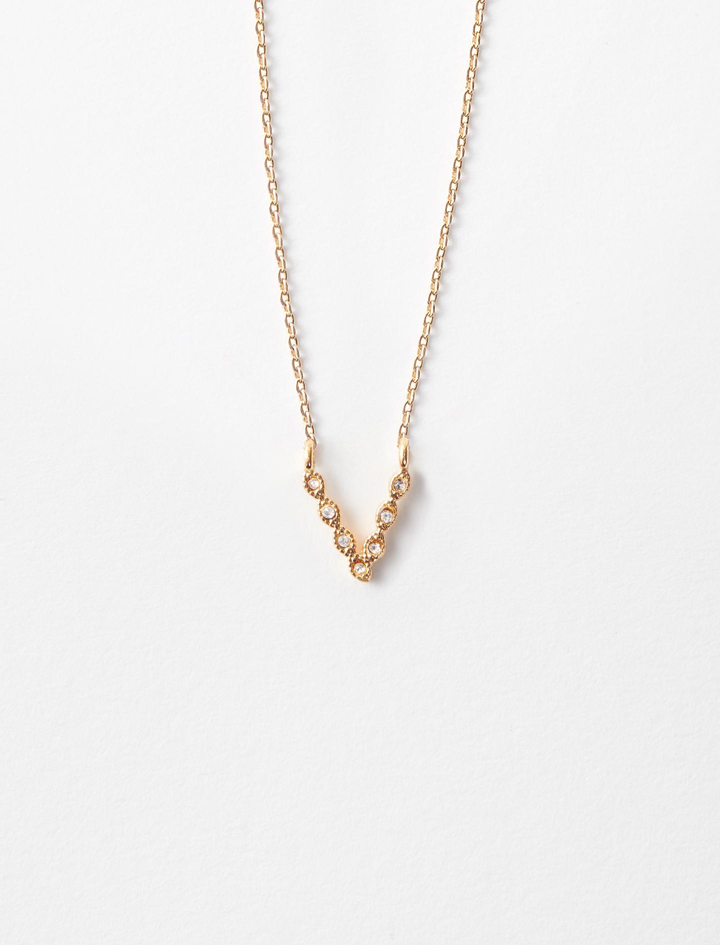 Rhinestone V necklace - Gold