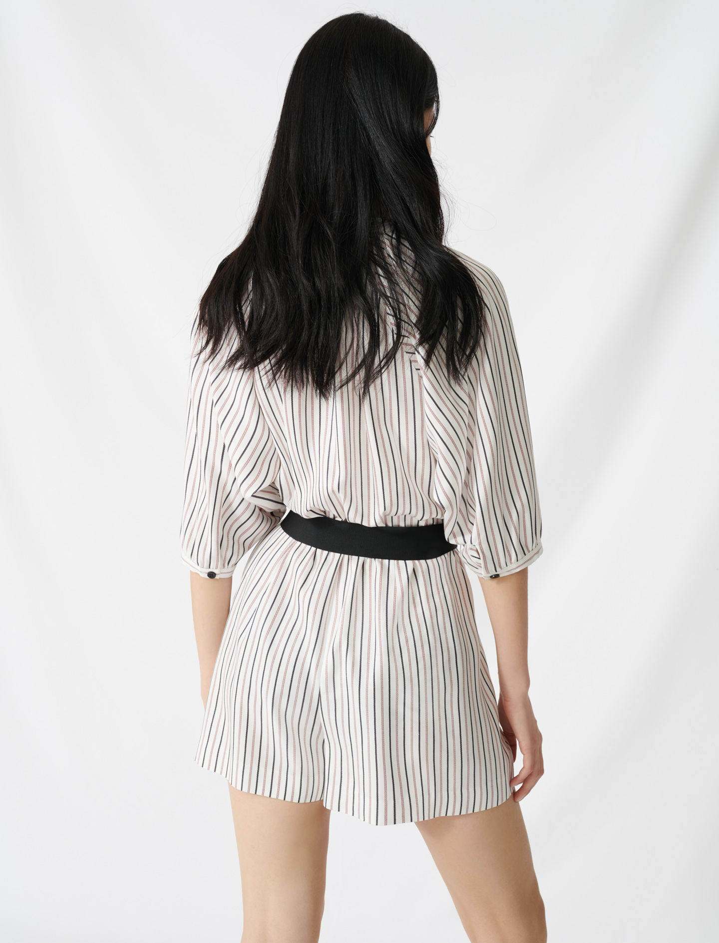 Belted pinstriped jumpsuit - Ecru