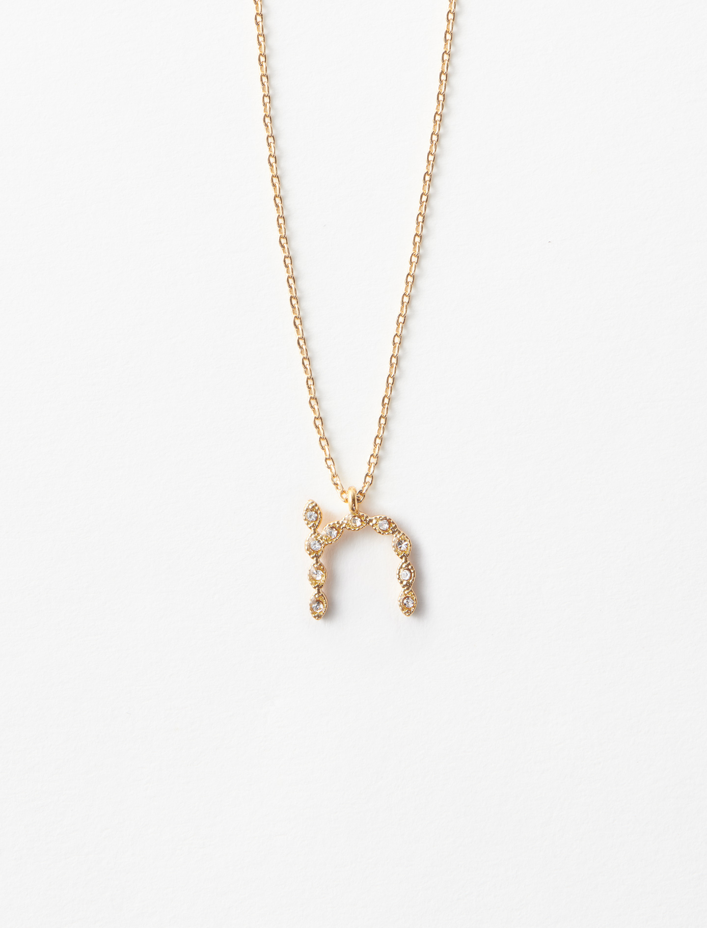 Rhinestone N necklace - Gold