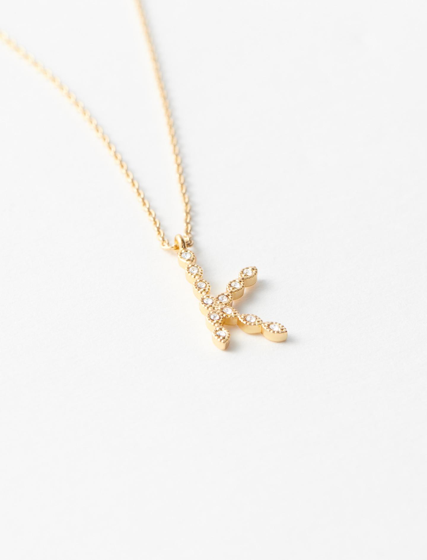 Rhinestone K necklace - Gold