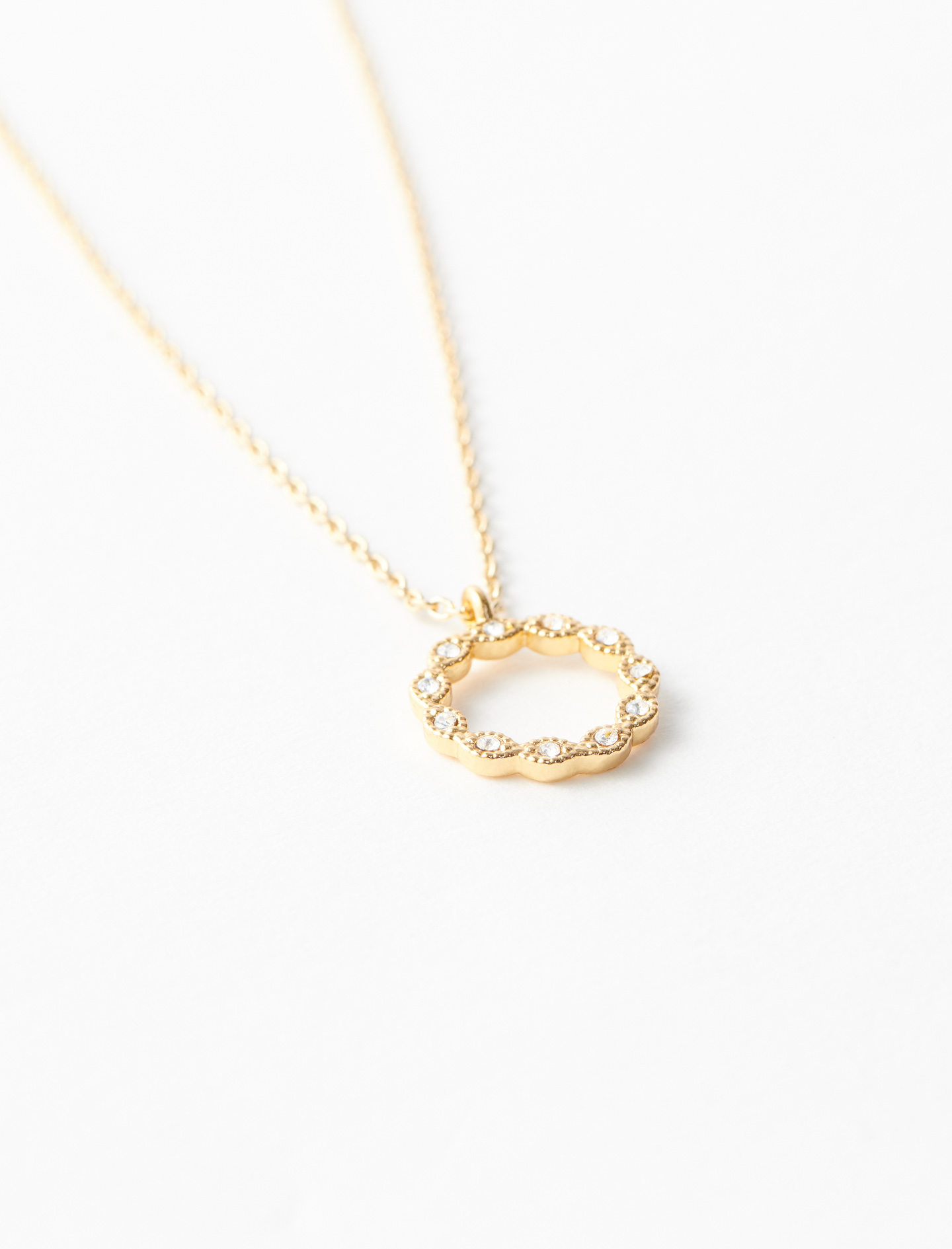 Rhinestone O necklace - Gold