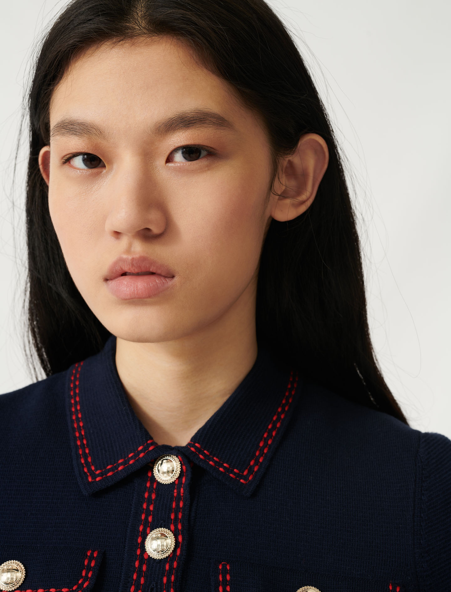 Short-sleeved polo-style jumper - Navy