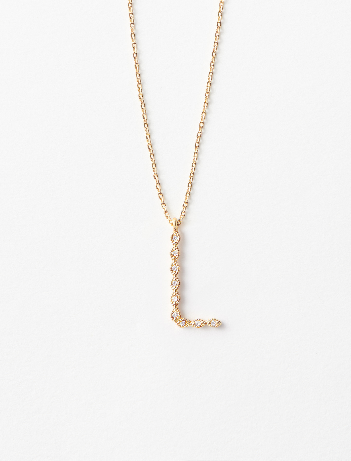 Rhinestone L necklace - Gold