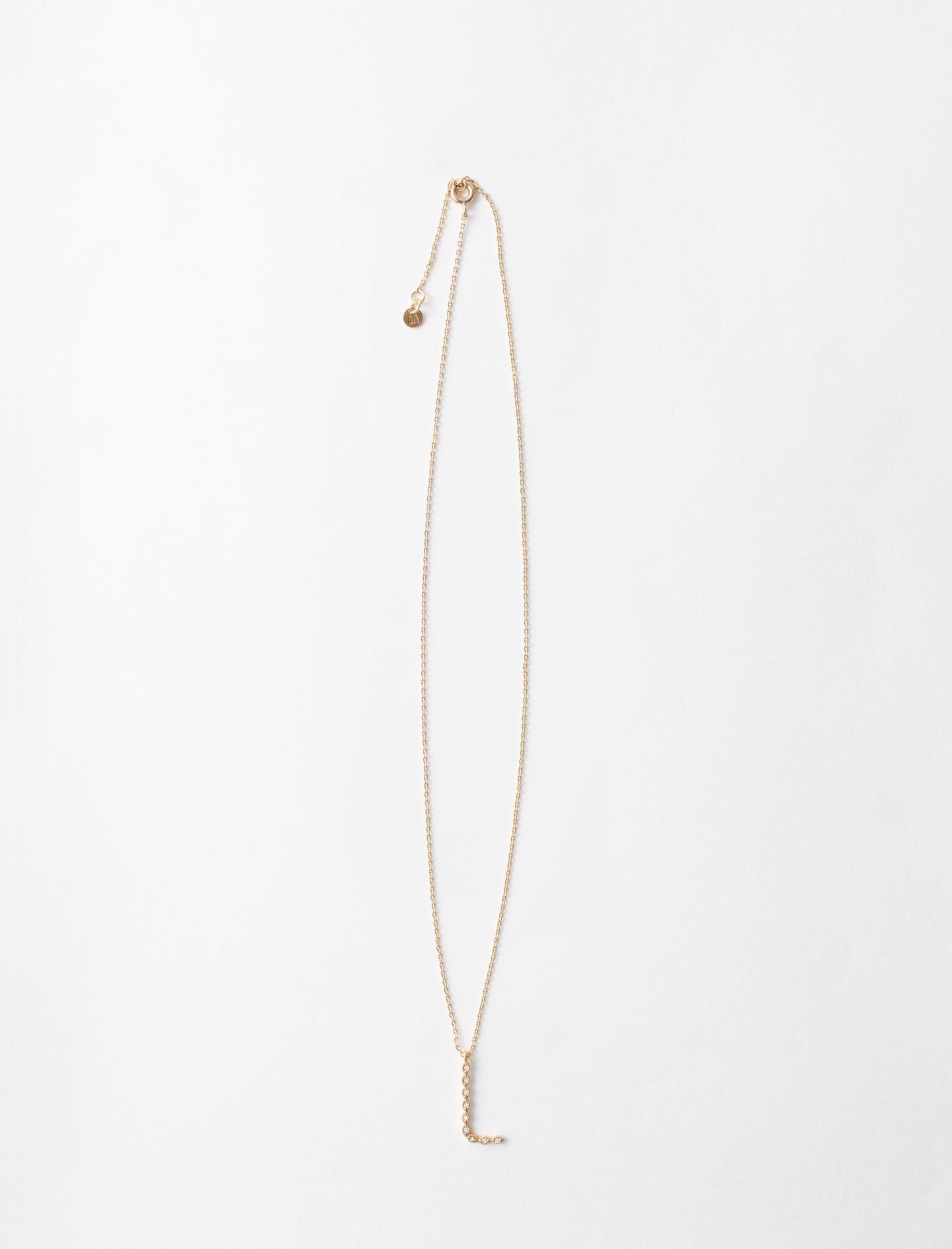 Rhinestone L necklace - Gold