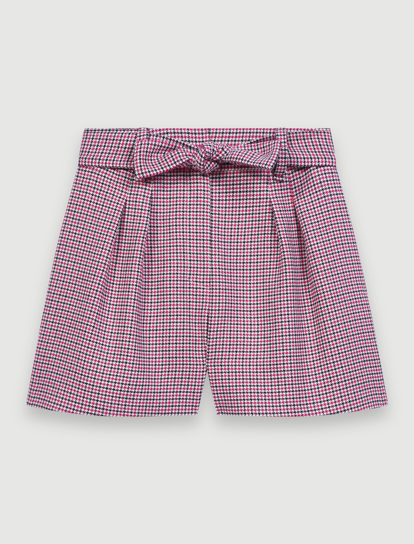 Belted, checked shorts - Pink