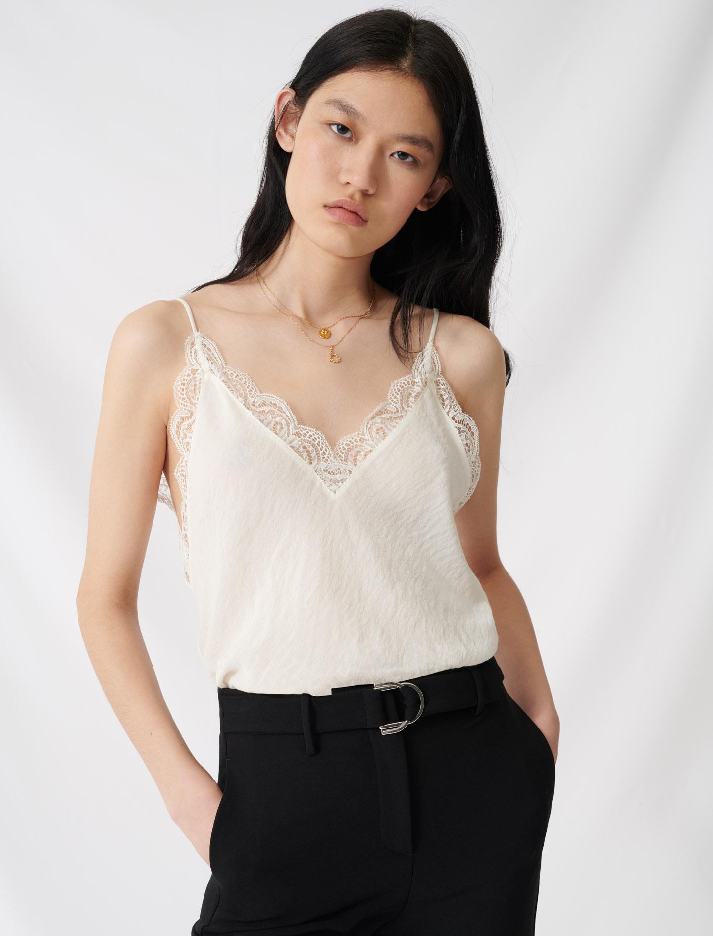Ecru top with thin straps and lace trim - Ecru