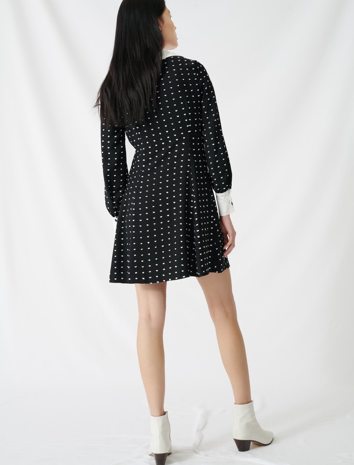 Polka dot dress with contrasting details - Multi-colour