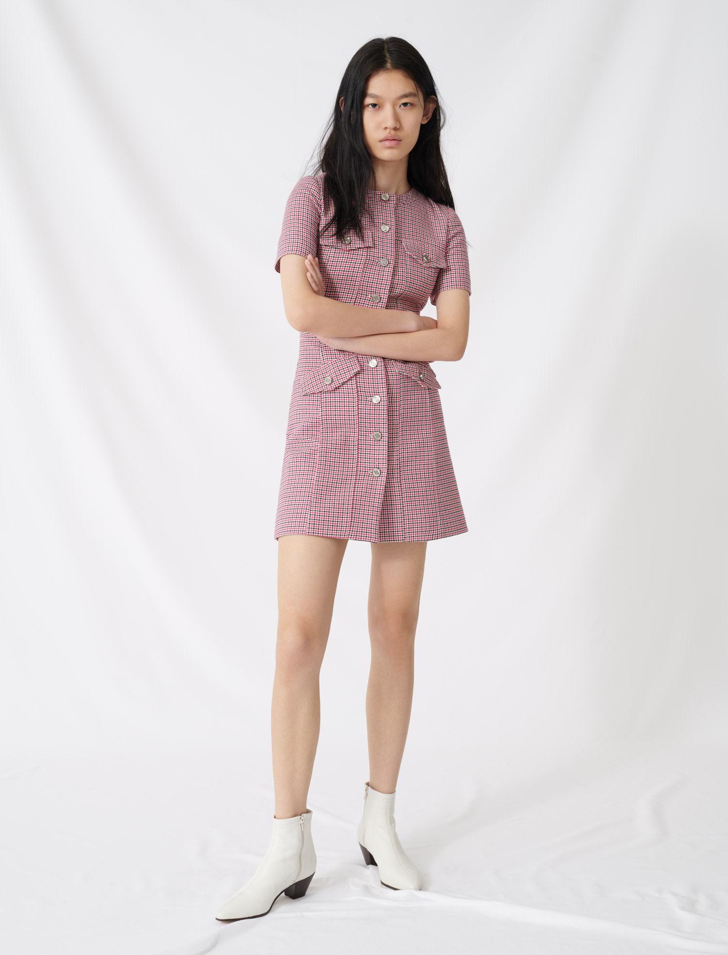 Fitted checked mini dress - Pink