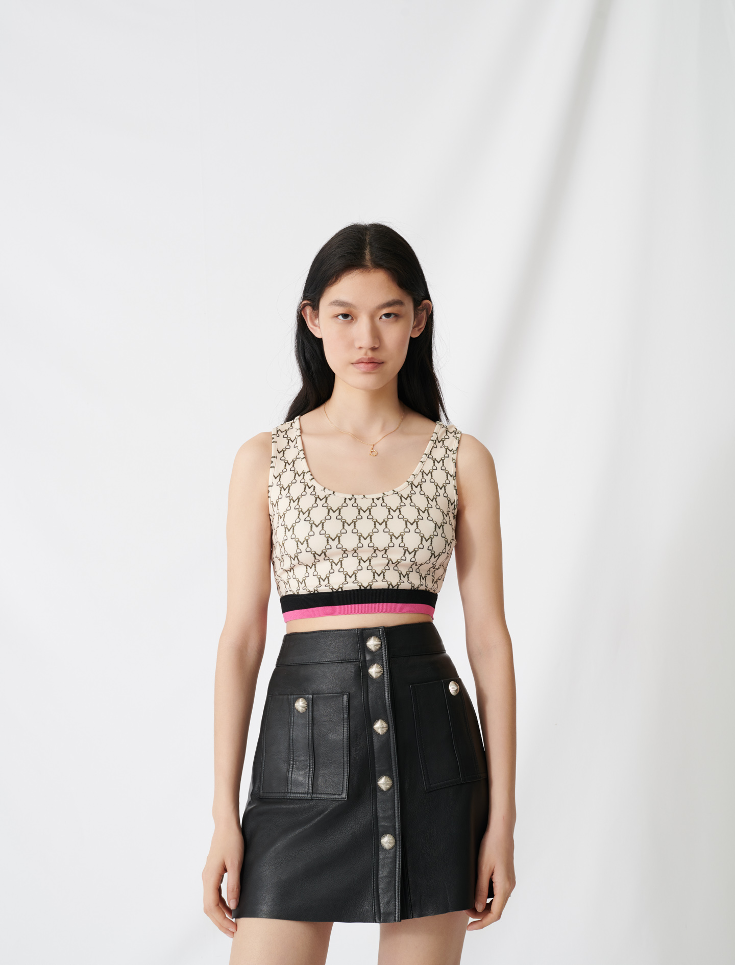 Sporty crop top with all-over monogram - Ecru