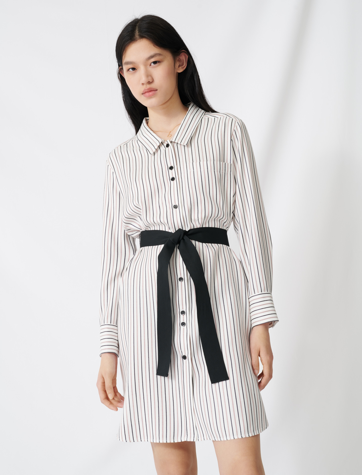 Belted pinstriped shirt dress - Multi-colour