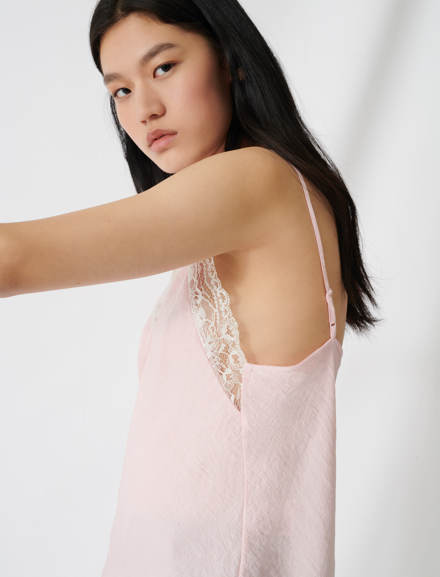 Pink top with thin straps and lace trim - Pink