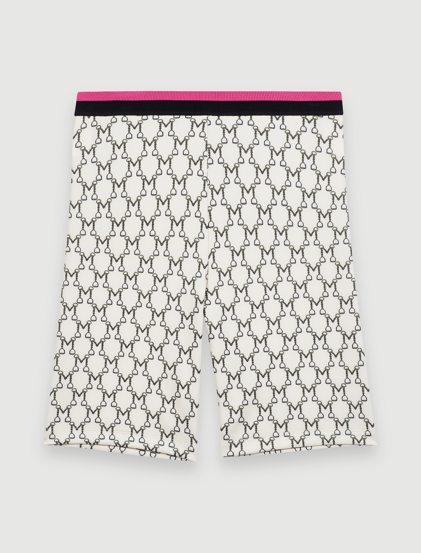 Cycling shorts with all-over monogram - Ecru