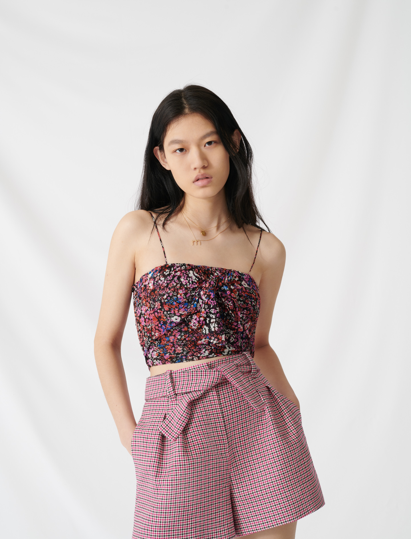 Top with floral motifs and smocked back - Multi-colour
