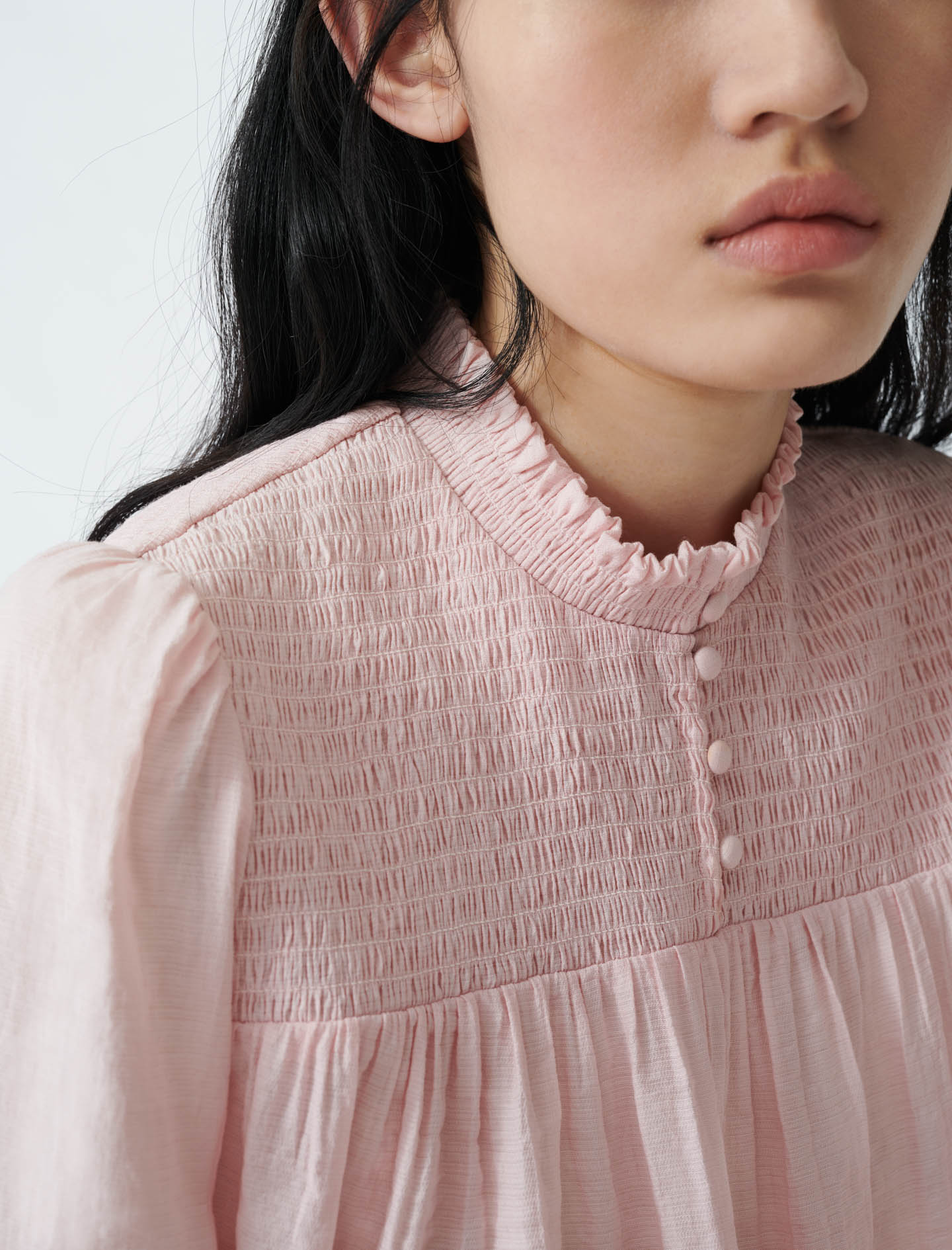 Smocked blouse with puff sleeves - Pink