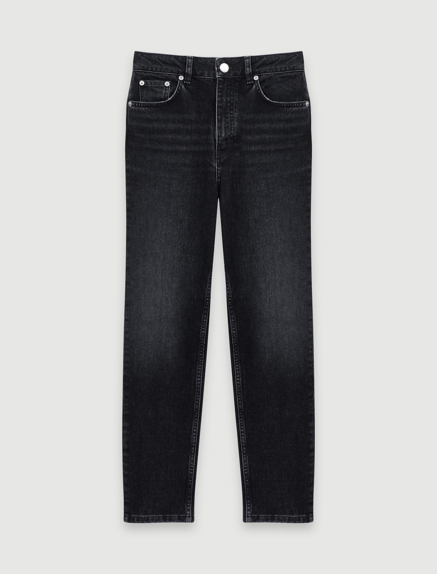 Mom-style high-waisted straight jeans - Grey