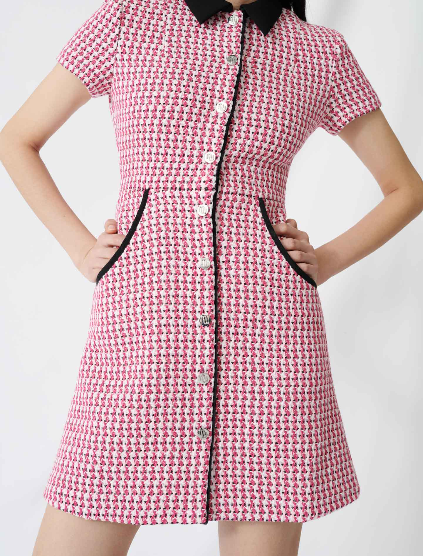 Tweed-style dress, contrasting details - Pink