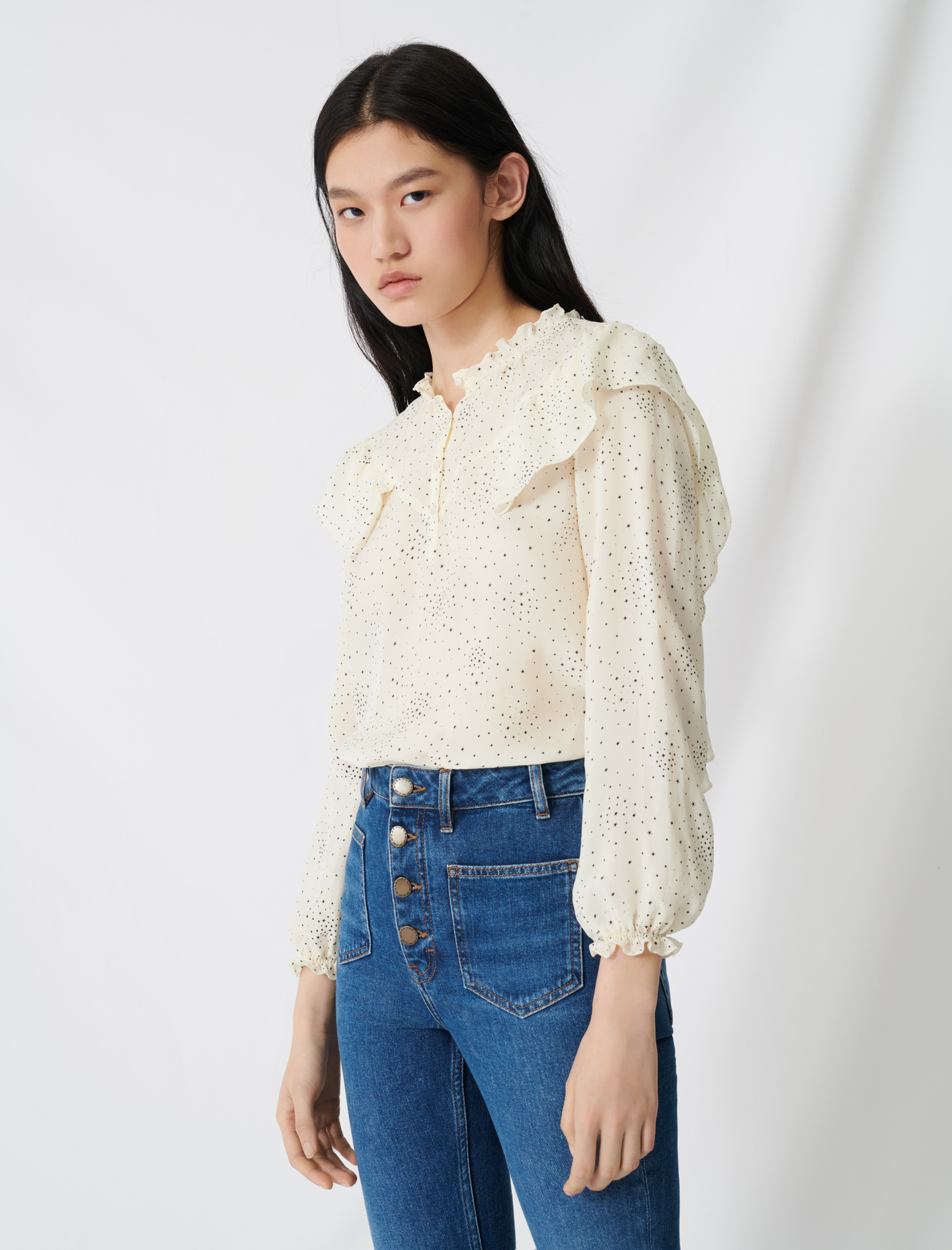 Floaty blouse with romantic ruffles - Multi-colour