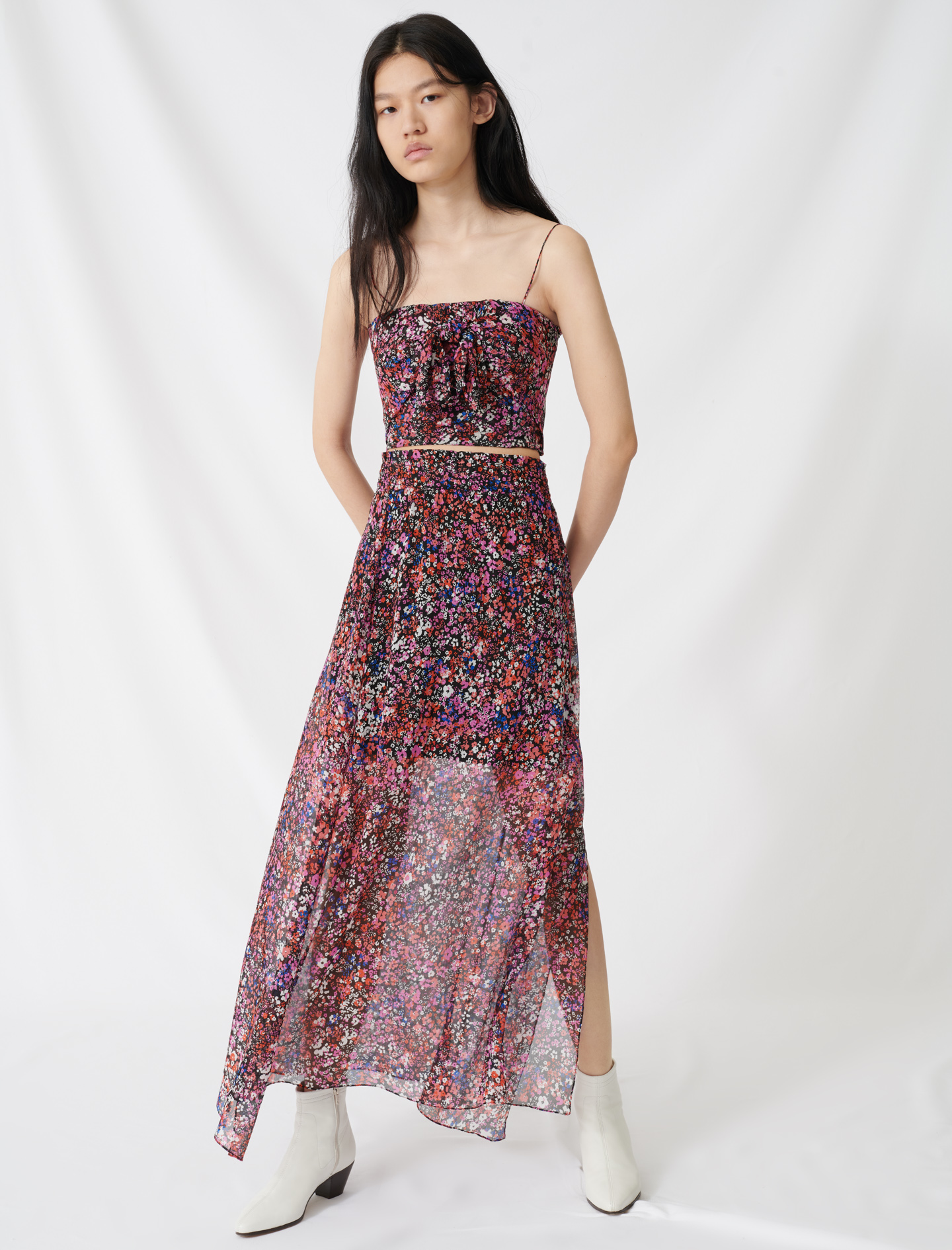 Silk skirt with floral motif - Multi-colour