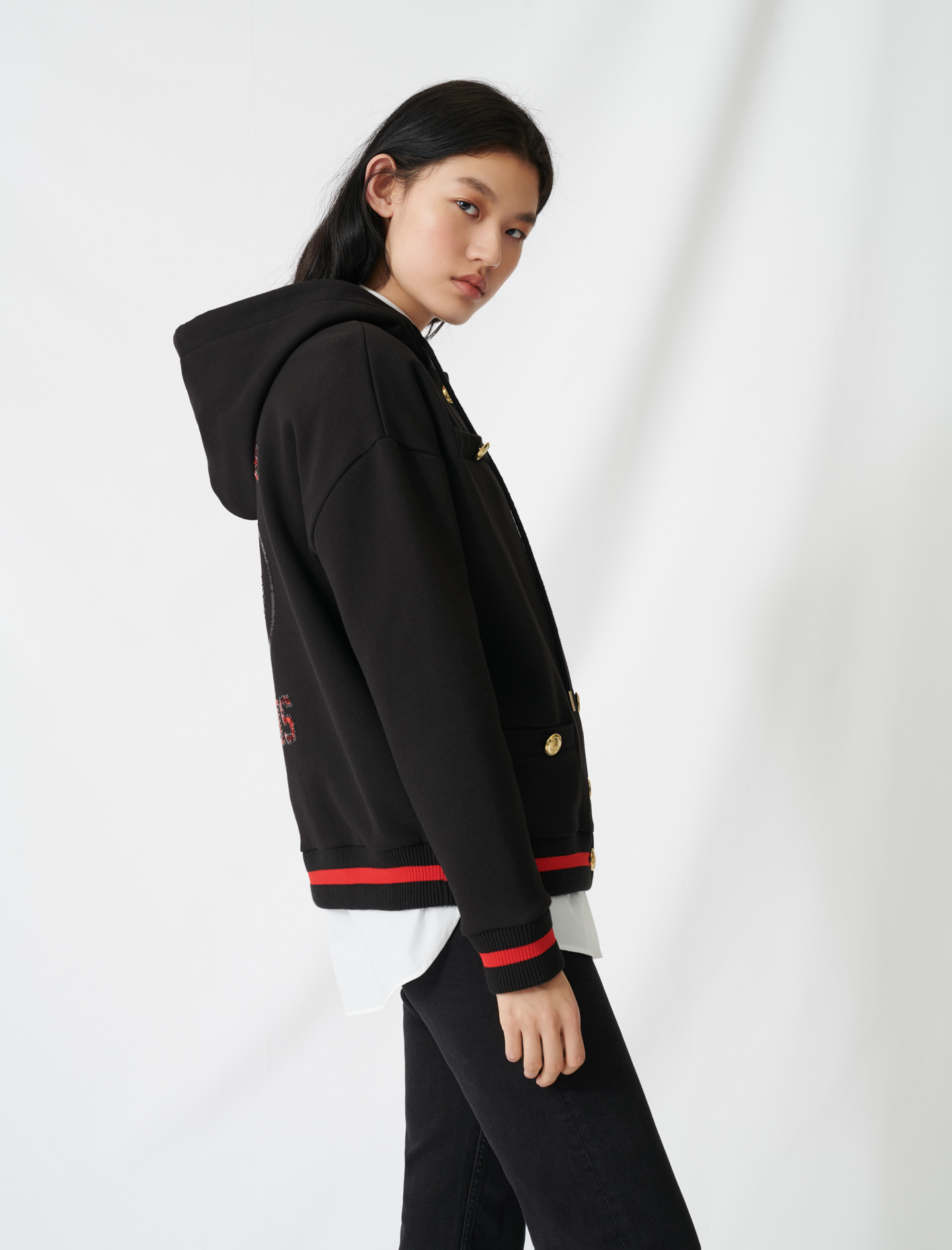 Hoodie with sequin embroidery  - Black