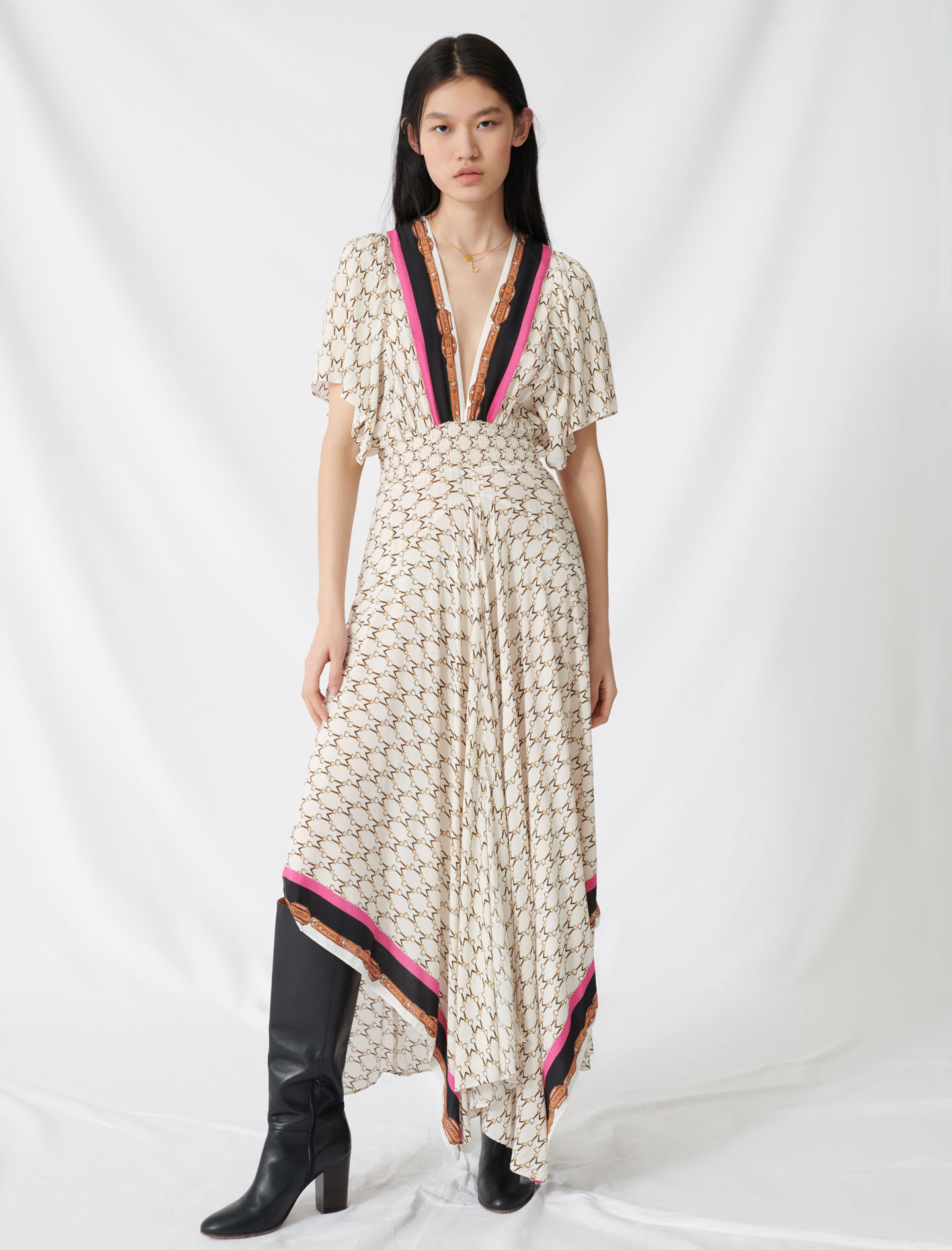Muslin dress with scarf print - Ecru
