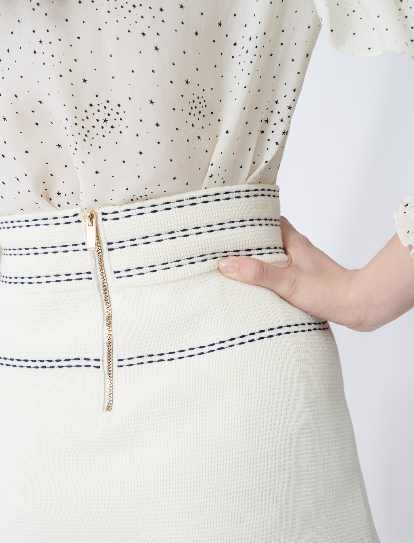 Skirt with contrasting topstitching - Ecru