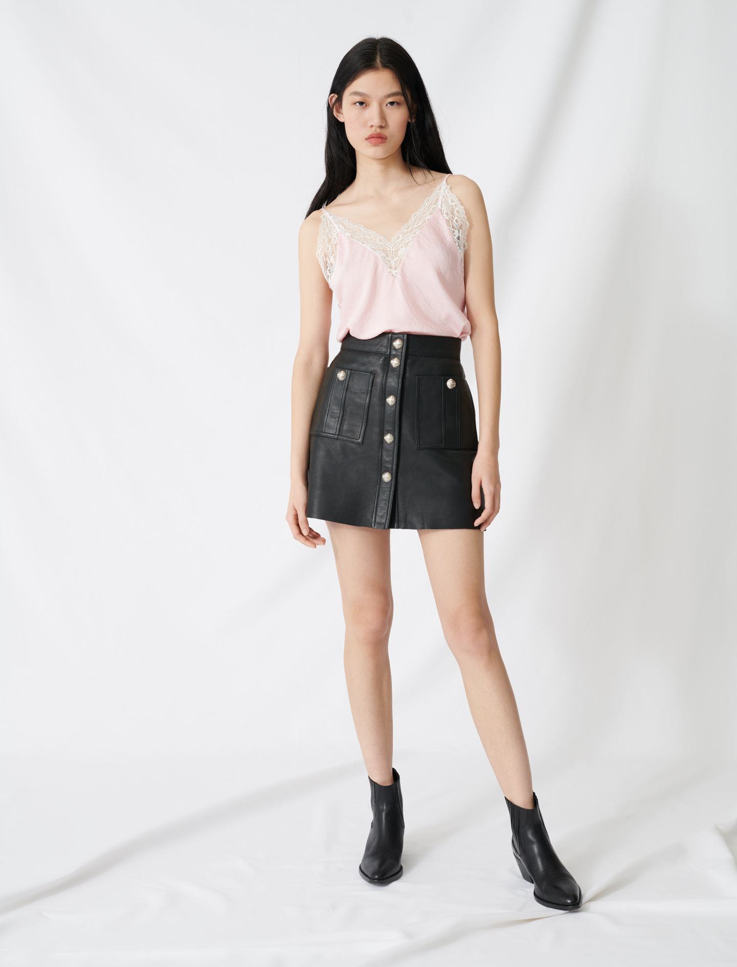 Buttoned A-line leather skirt - Black