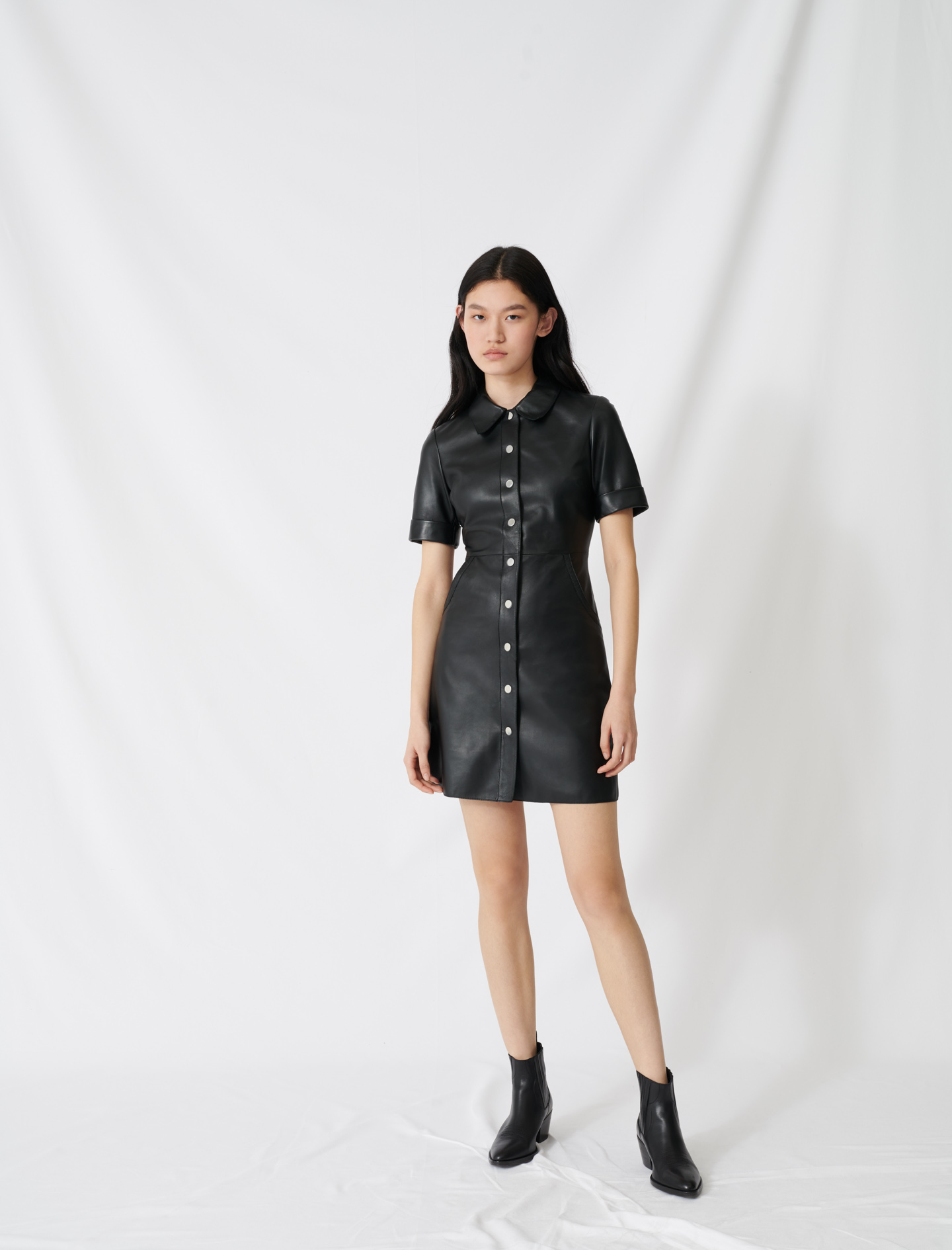 Buttoned leather shirt dress - Black