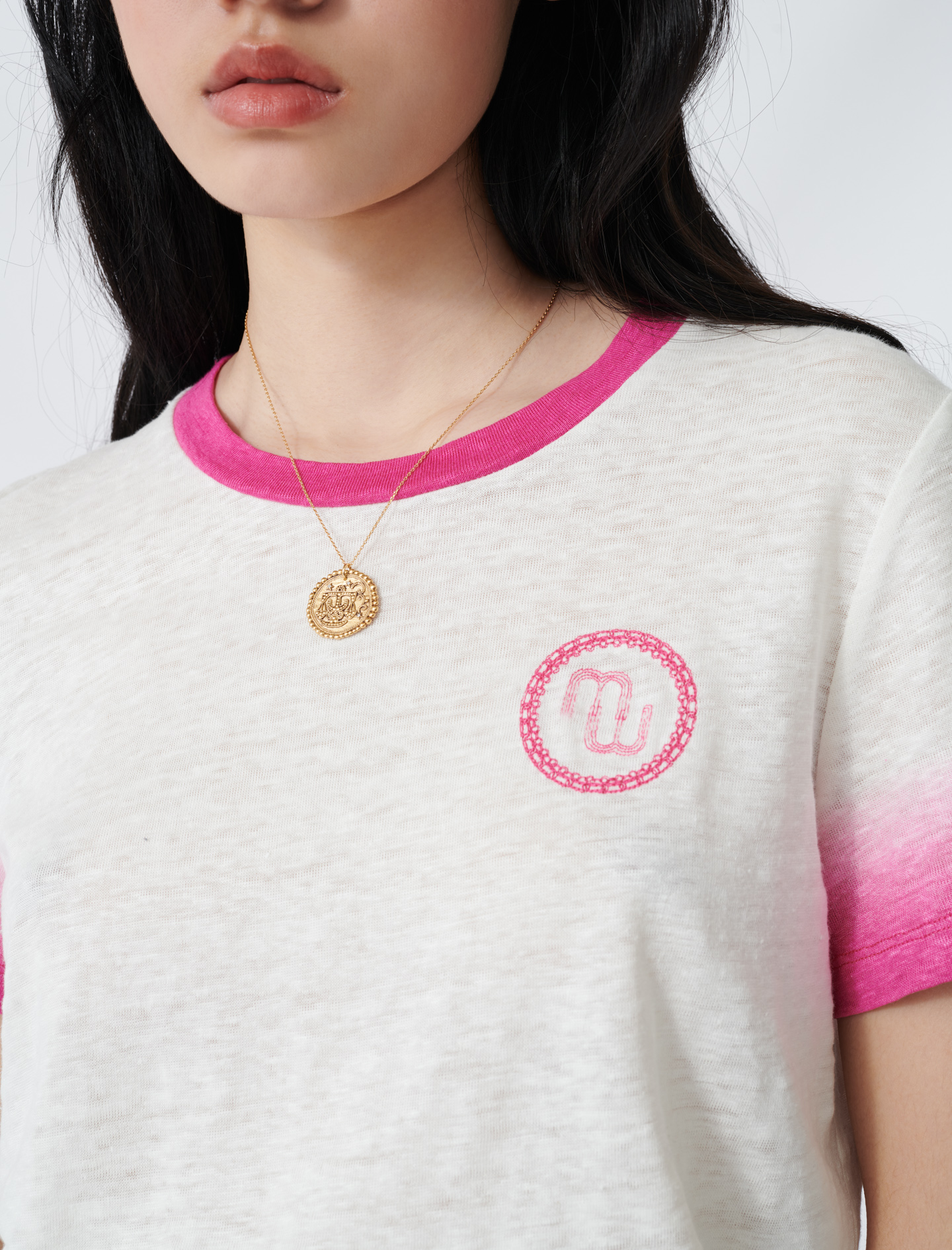 Monogram T-shirt with tie-dye finishes - Ecru