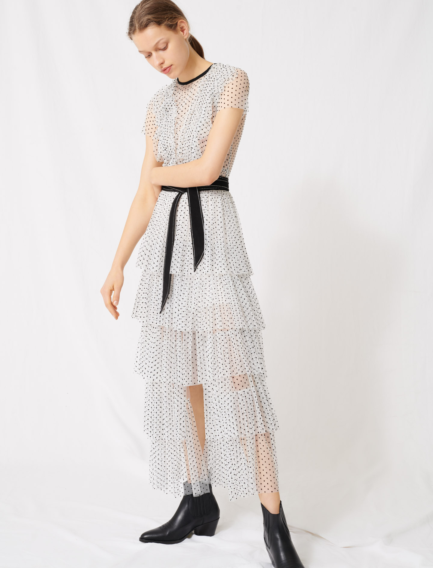 Long dress in dotted Swiss tulle - Multi-colour