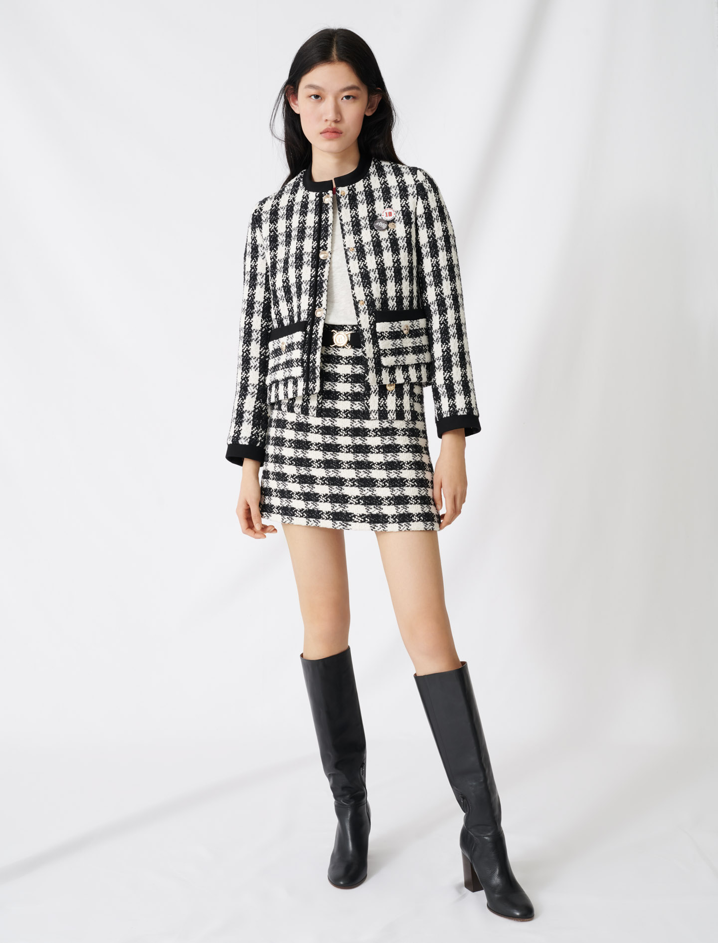 Tweed style cropped jacket - Multi-colour