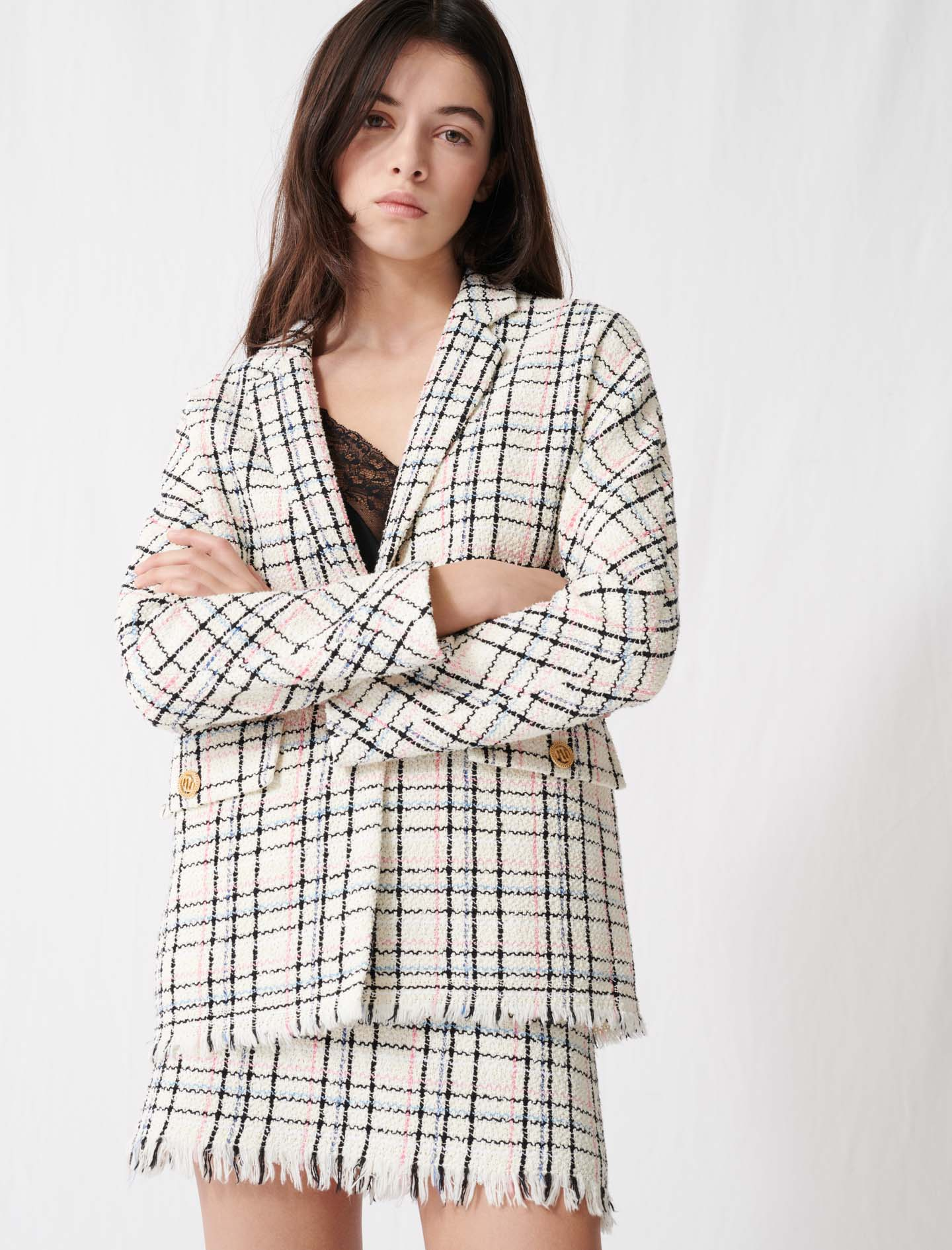 Checked tweed-style jacket - Ecru