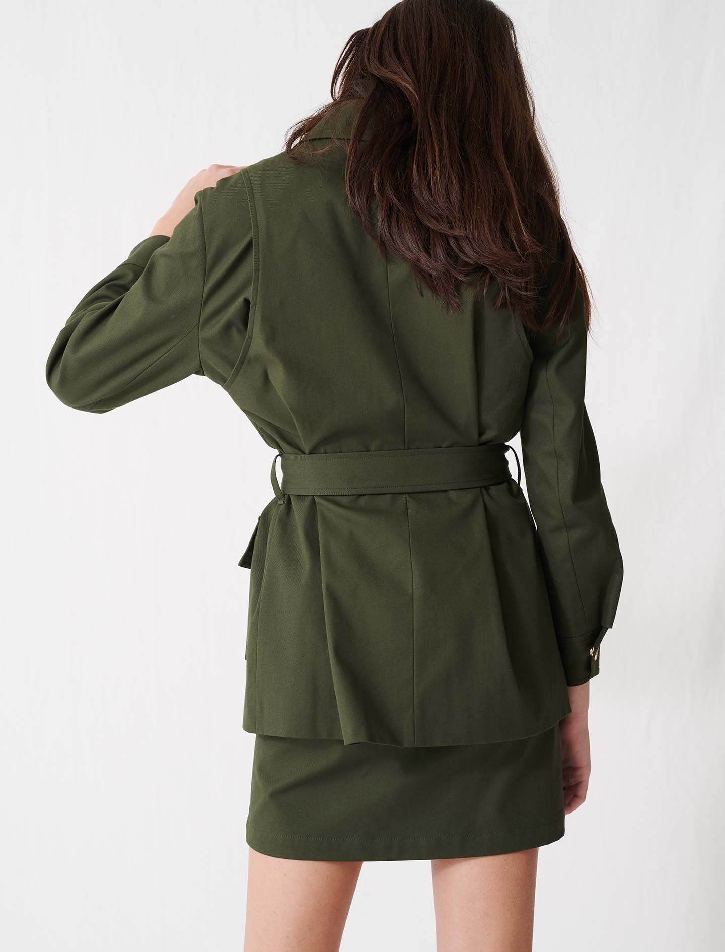 Belted safari-style coat - Green
