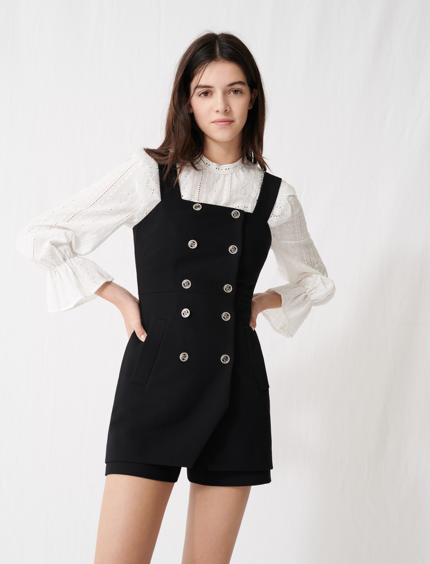 Buttoned playsuit with straps - Black