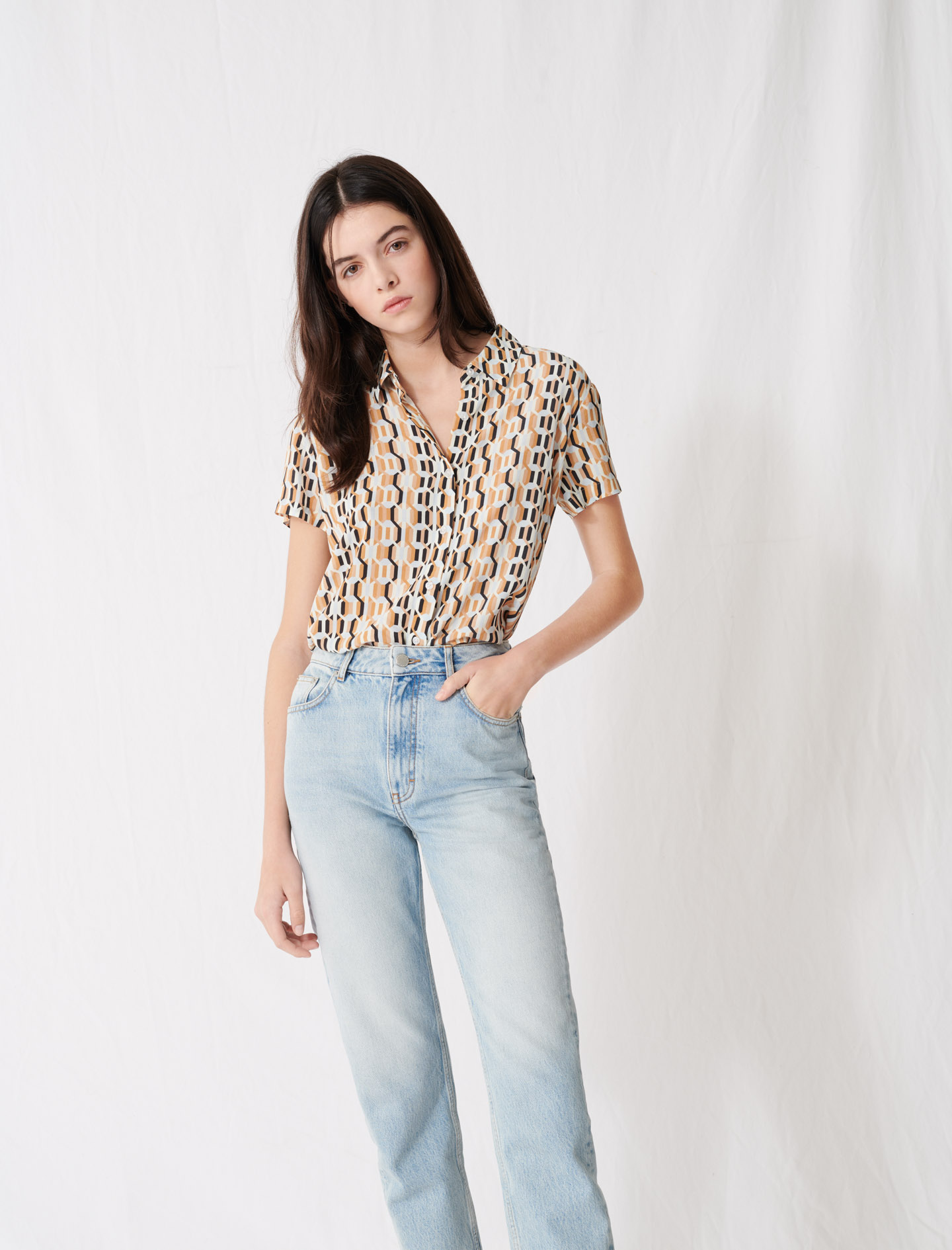 Mum-style high-waisted jeans - Blue