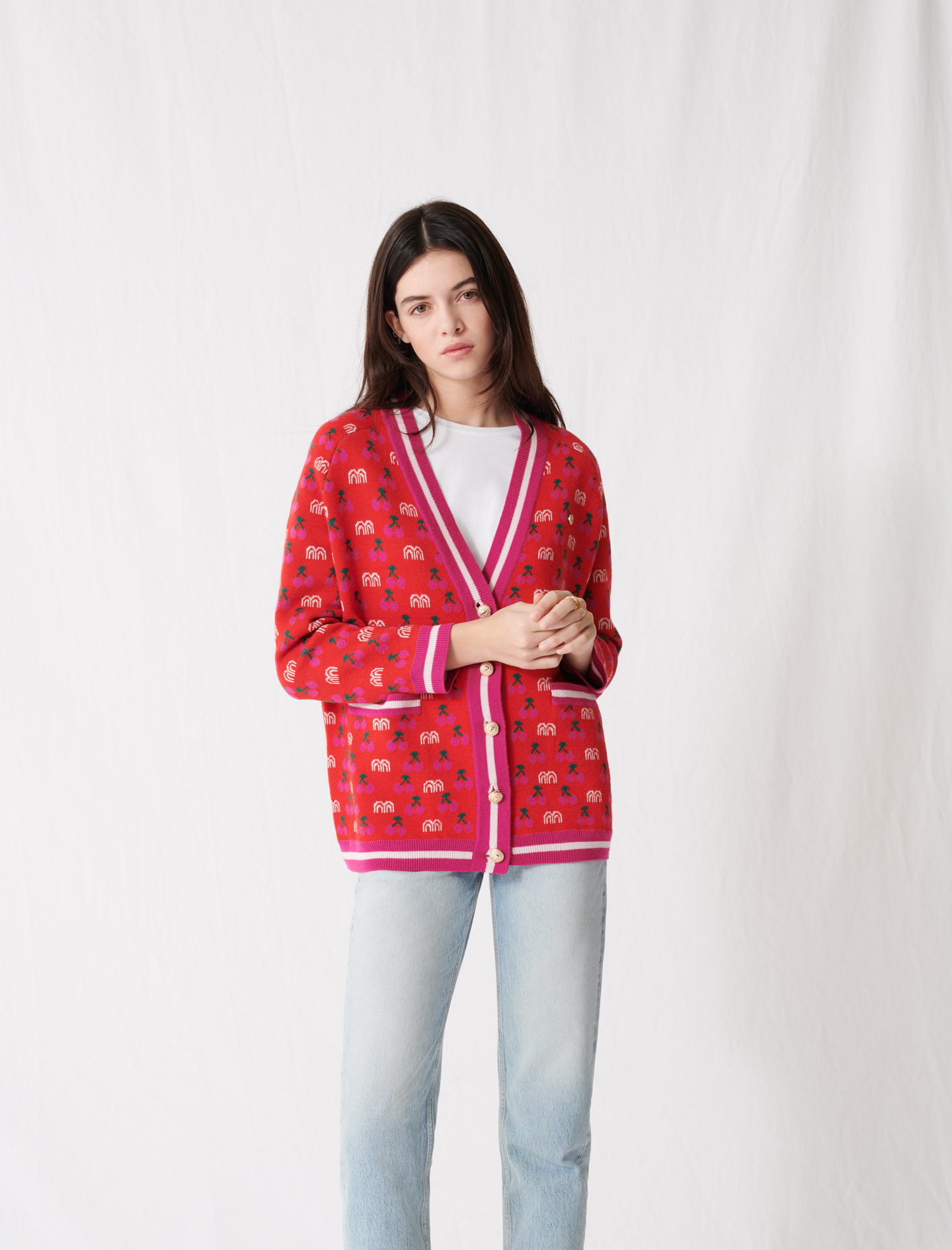 Jacquard cardigan with contrasting motif - Red