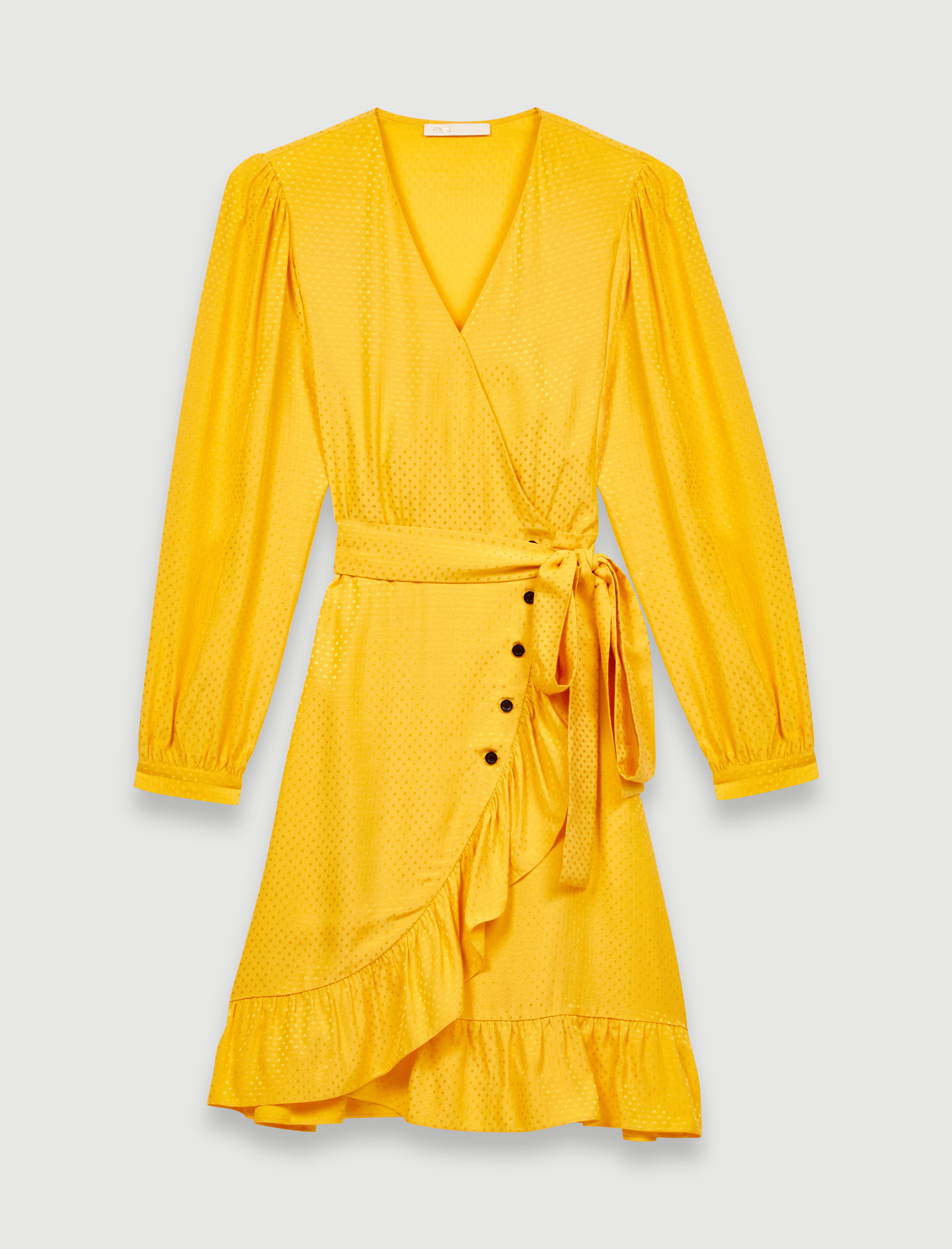 Sunny yellow wrap tie dress - Yellow
