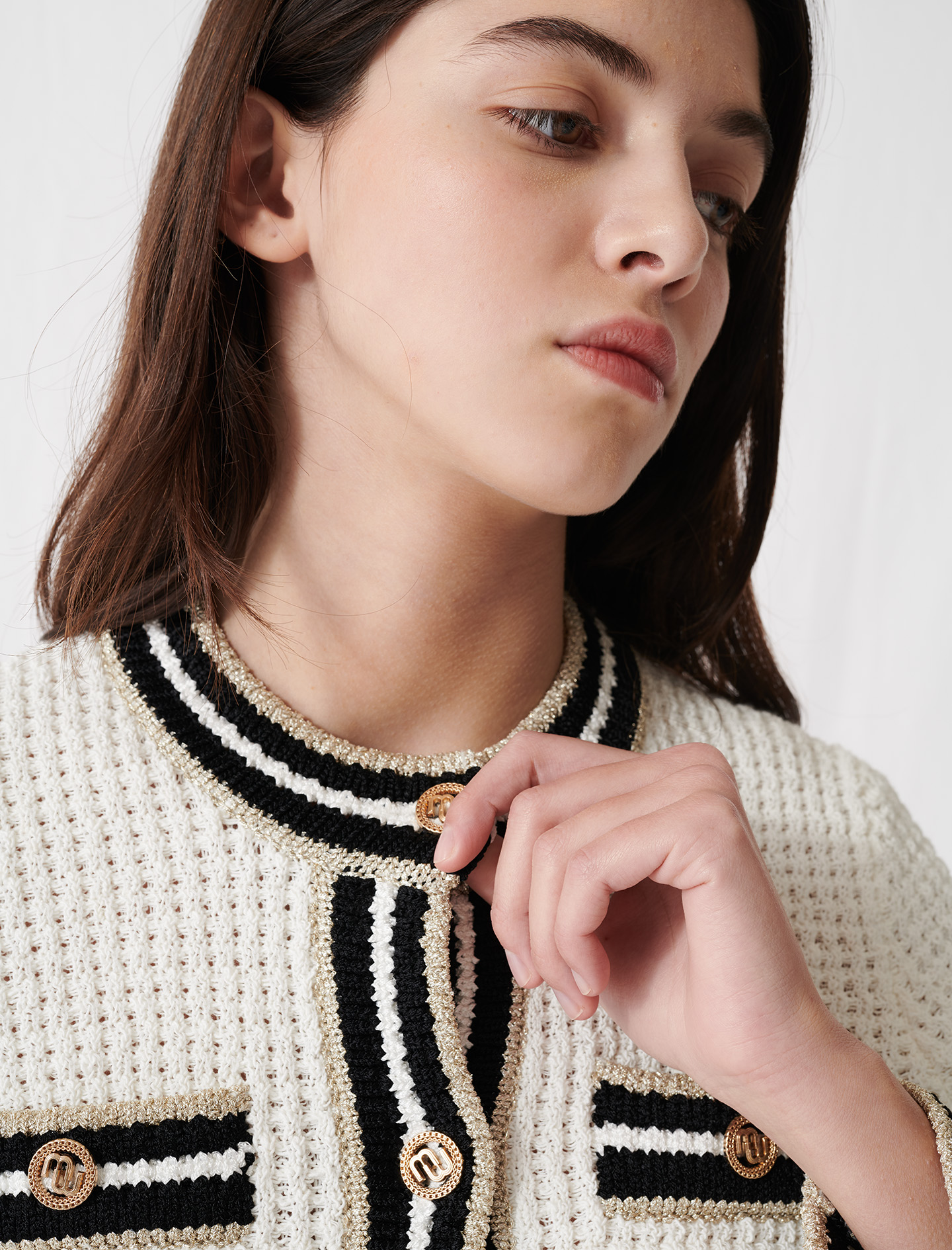 Knit cardigan with contrasting bands - Ecru