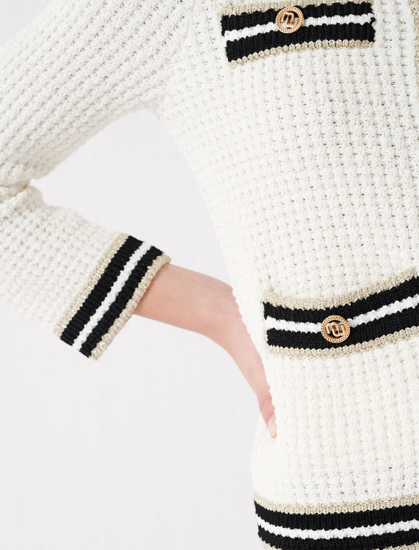 Knit cardigan with contrasting bands - EcruMulti