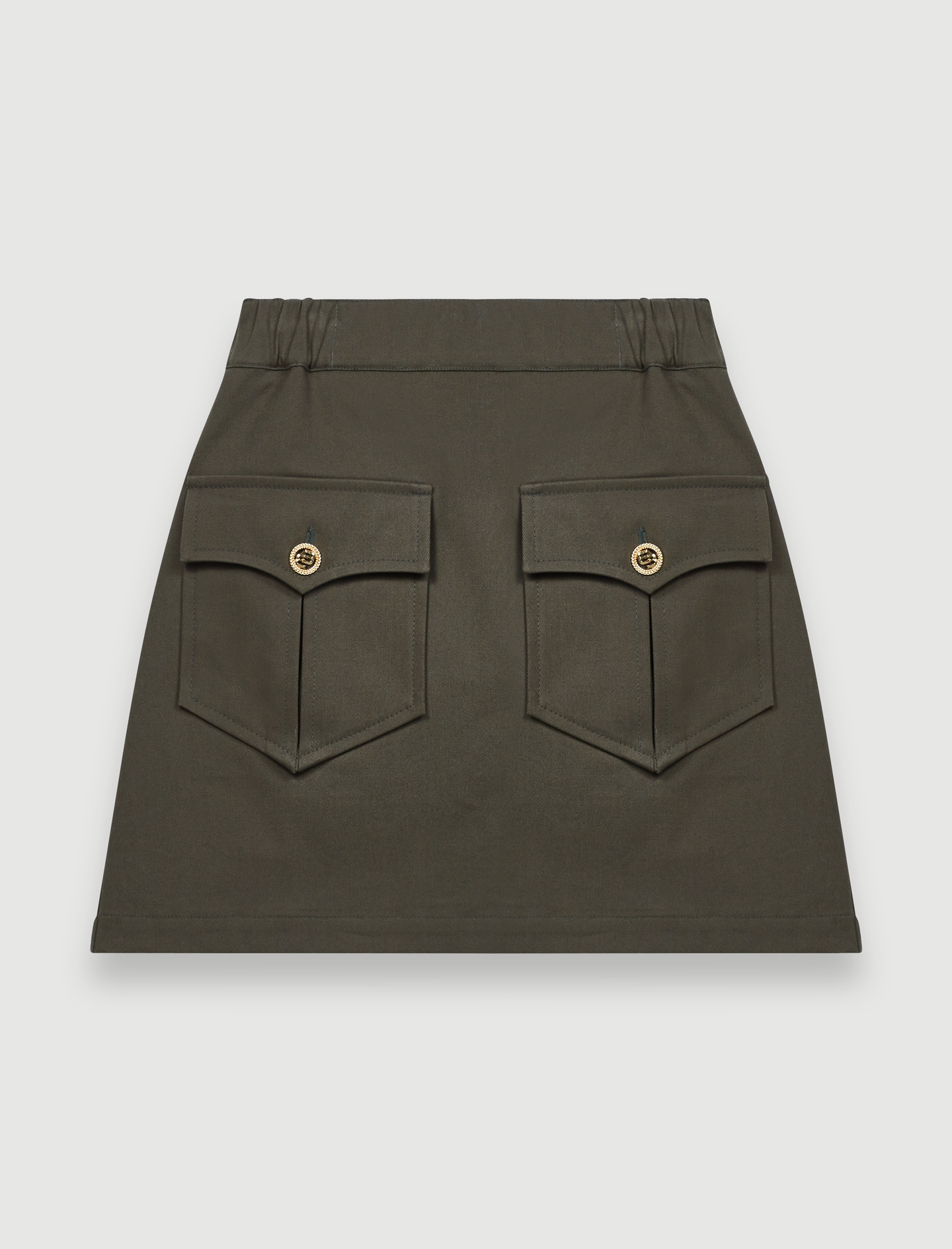 Khaki cotton skirt with pockets - Green
