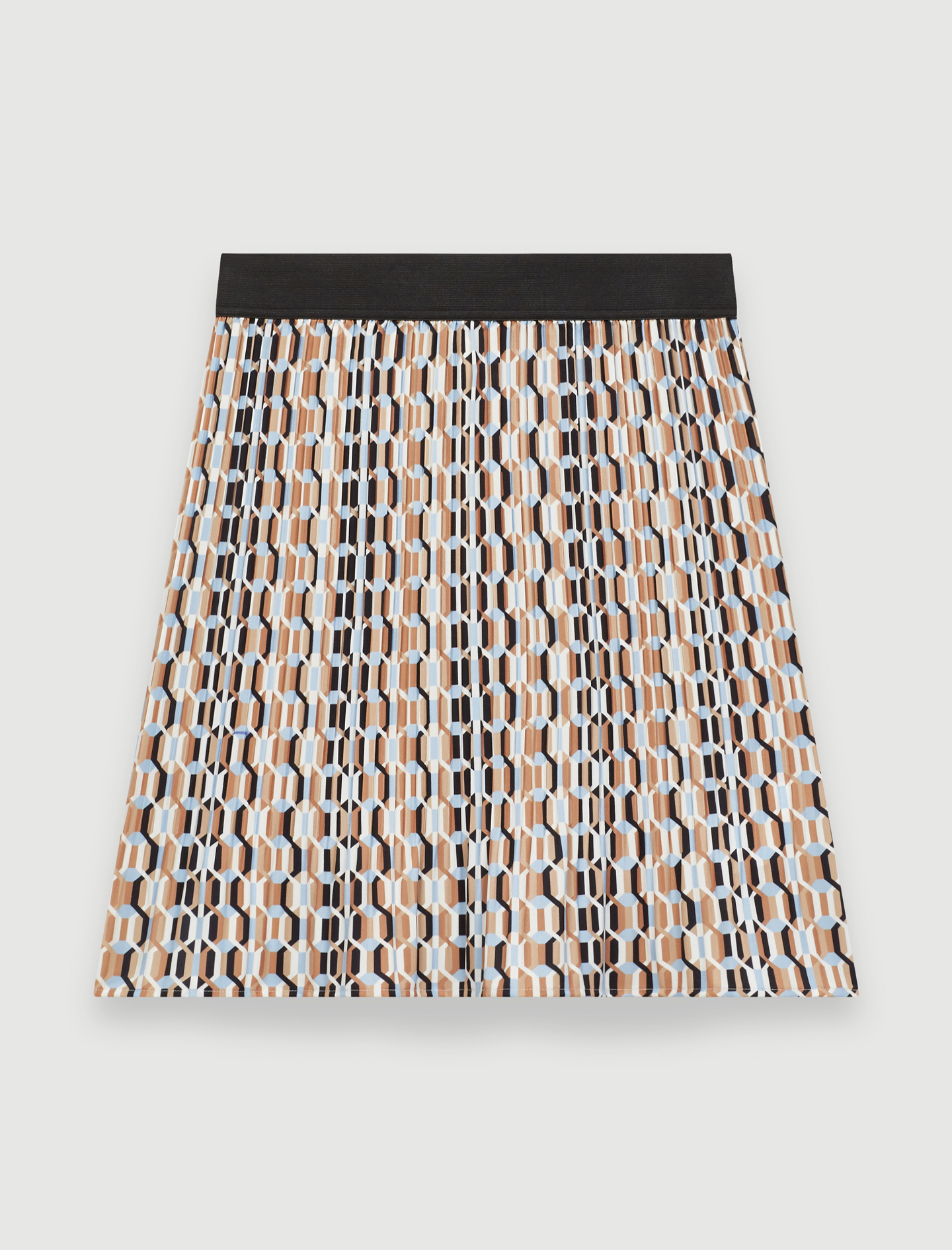 Pleated mini skirt with graphic print - Blue