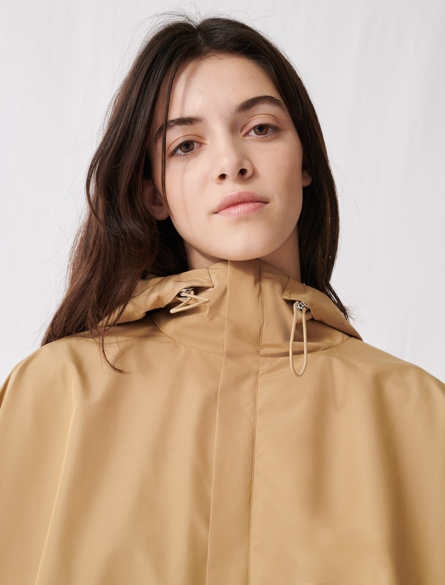 Oversized windbreaker pleated at back - Brown