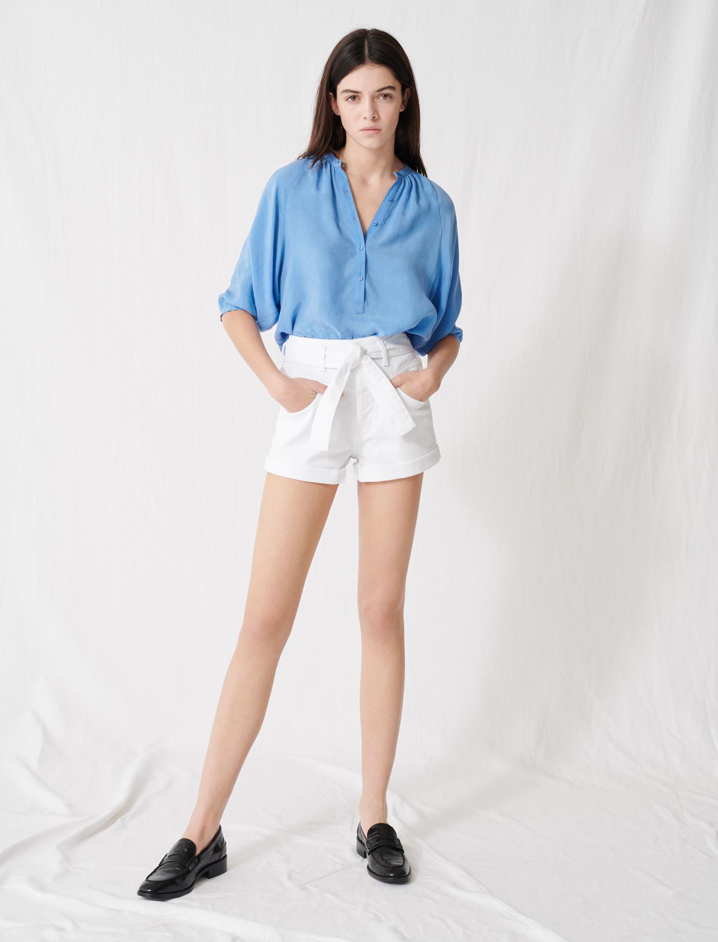 Belted denim shorts - White