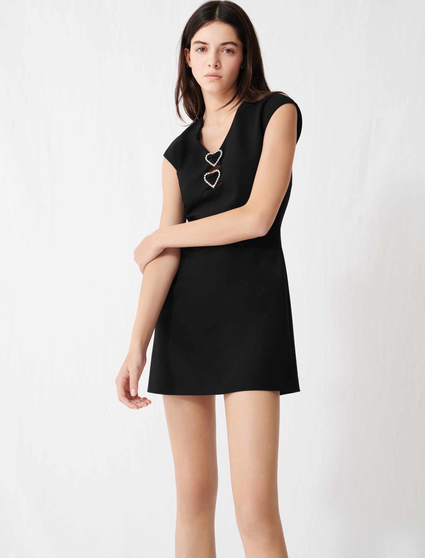 Dress with diamanté and hearts - Black