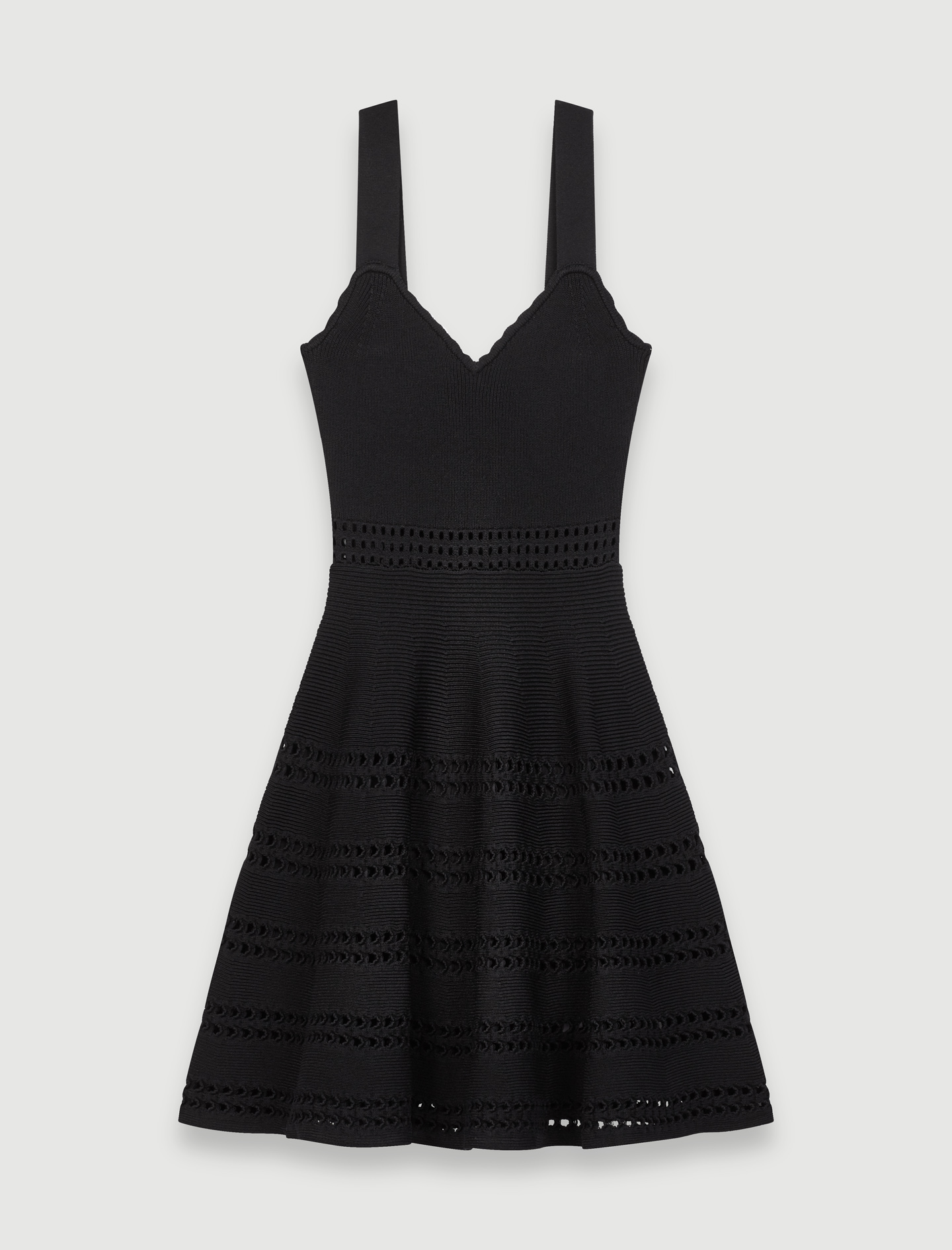 Openwork Knit Skater Dress - Black