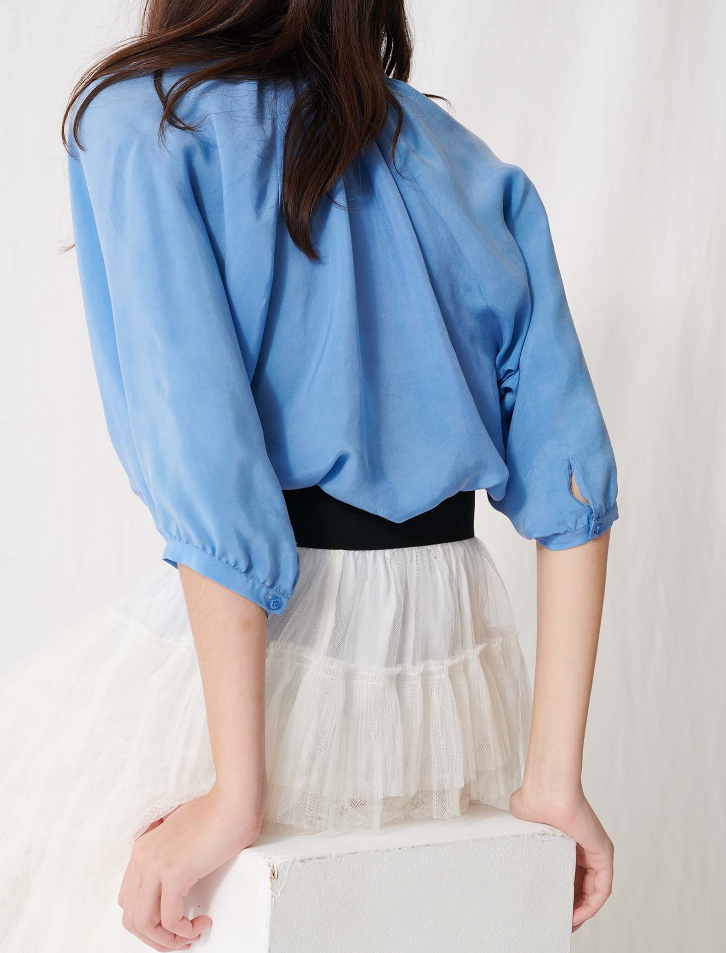 Buttoned Blouse With Shirring  - Blue
