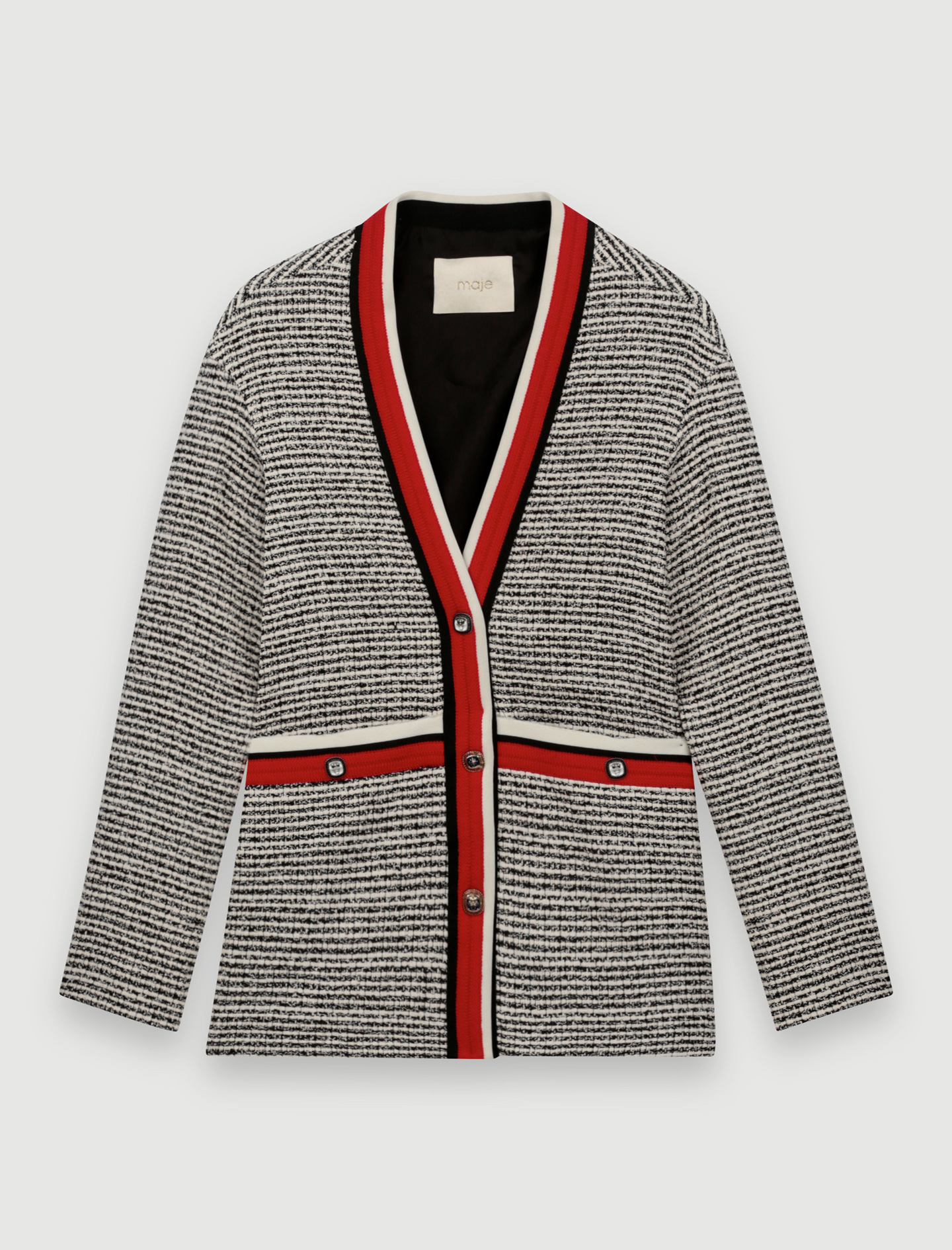 Tweed-effect cardigan, colourful bands - Multi-colour