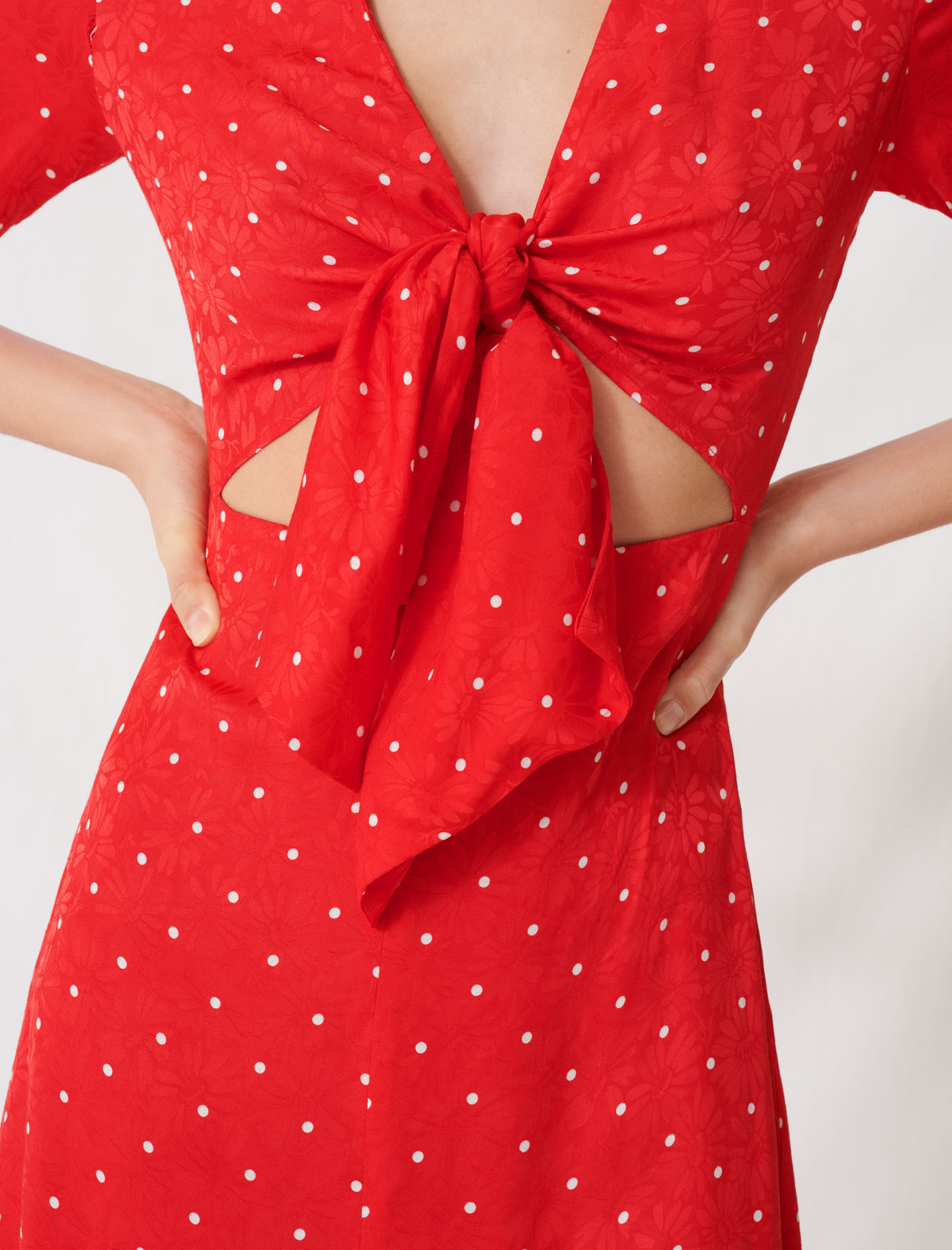 Long tie dress with polka dot print - Red