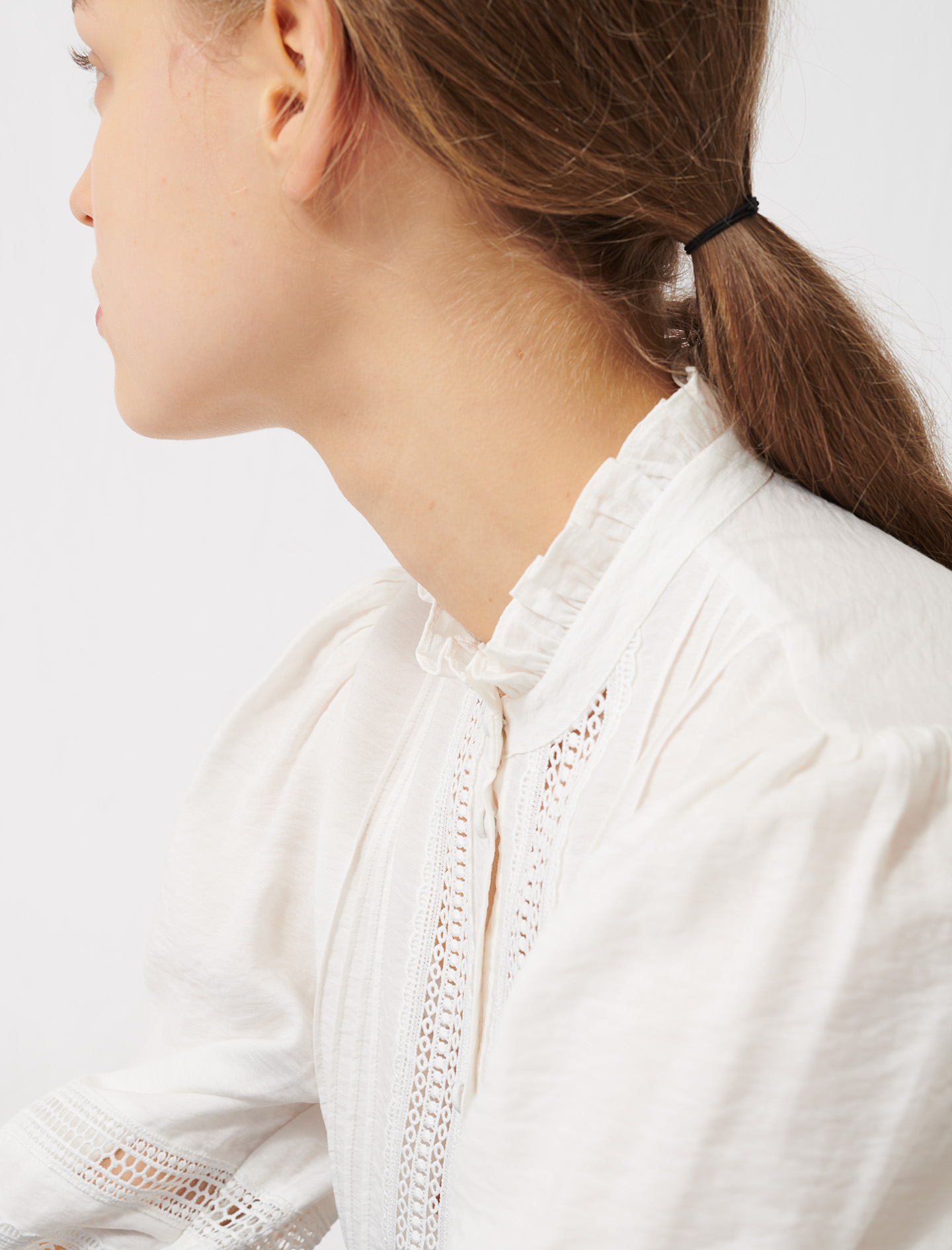 Romantic cotton and lace shirt - Ecru