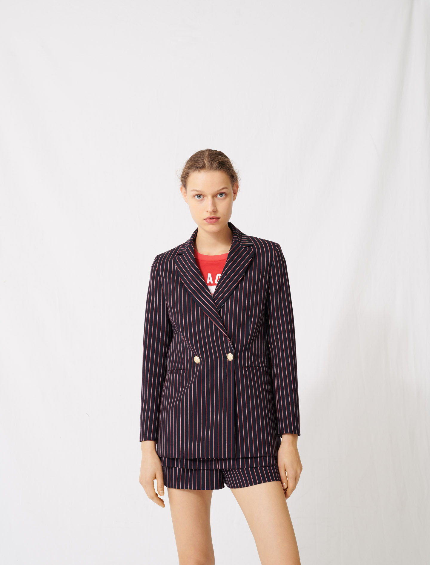 Striped double-breasted jacket - Navy